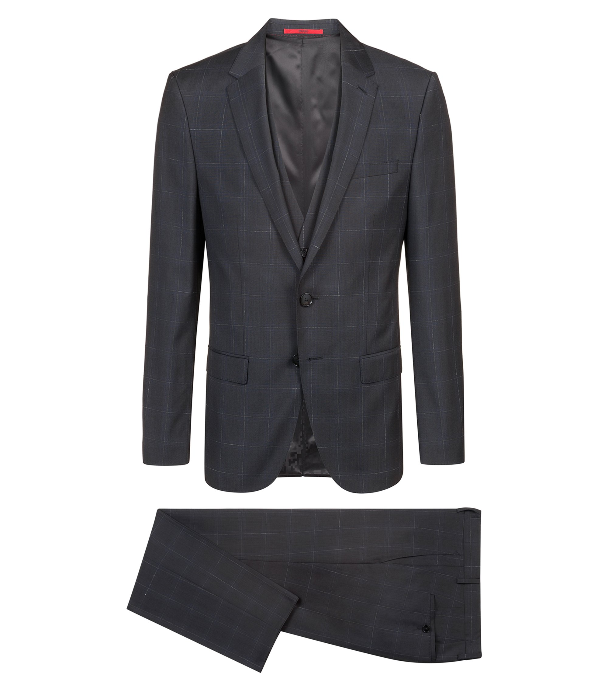 Slim-fit three-piece suit in checked virgin wool, Patterned