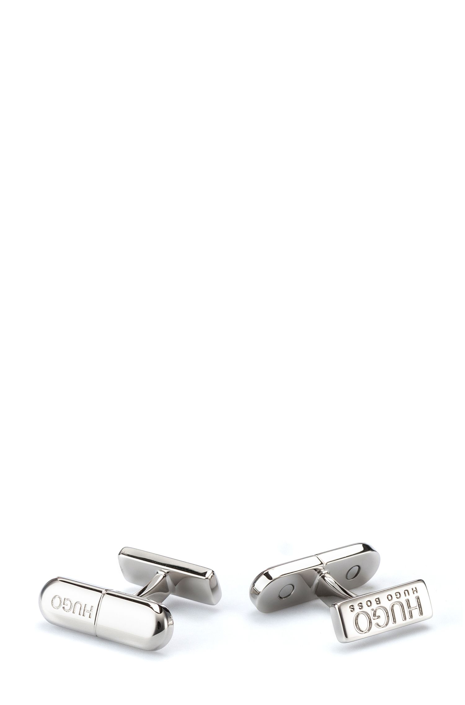 Pill-shaped cufflinks in highly polished brass, Silver