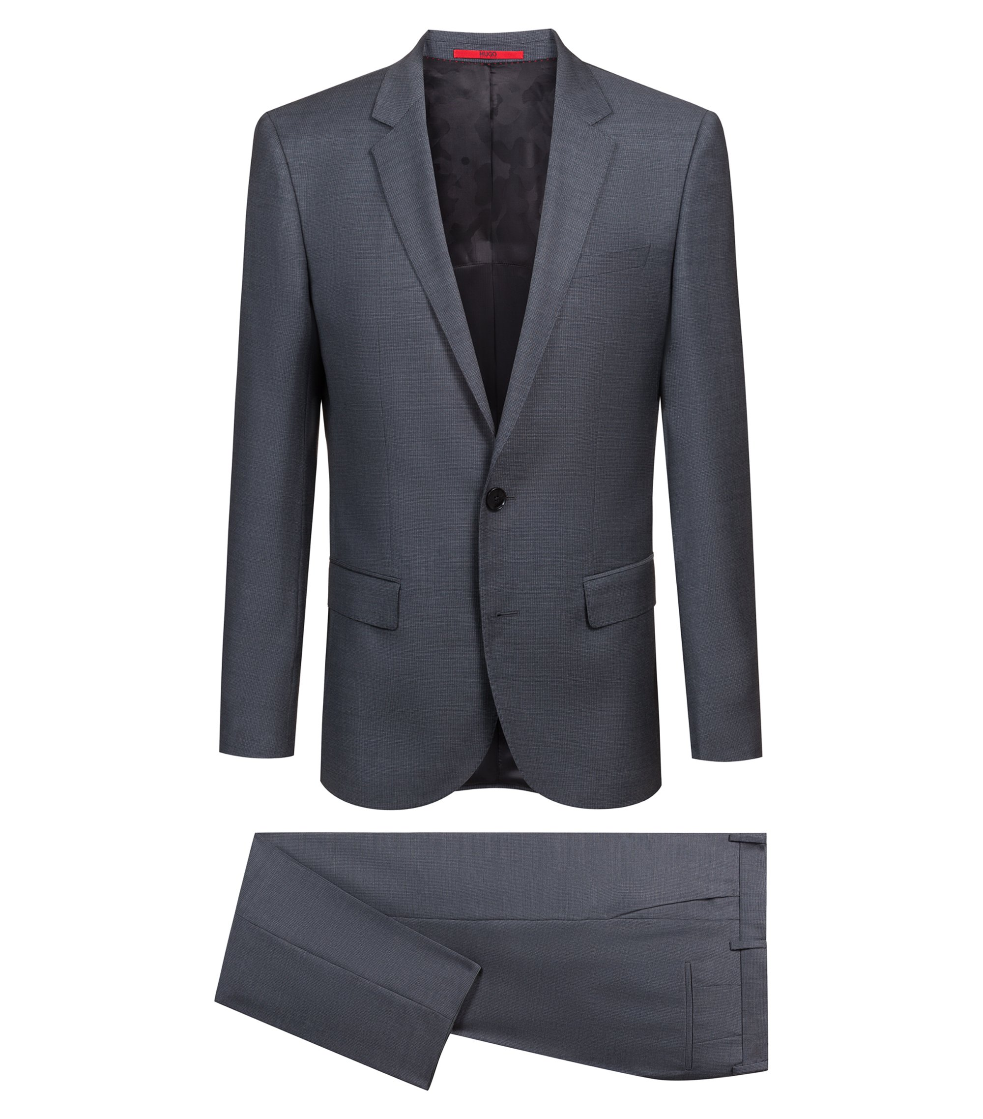 Slim-fit suit in micro-patterned Italian virgin wool, Grey