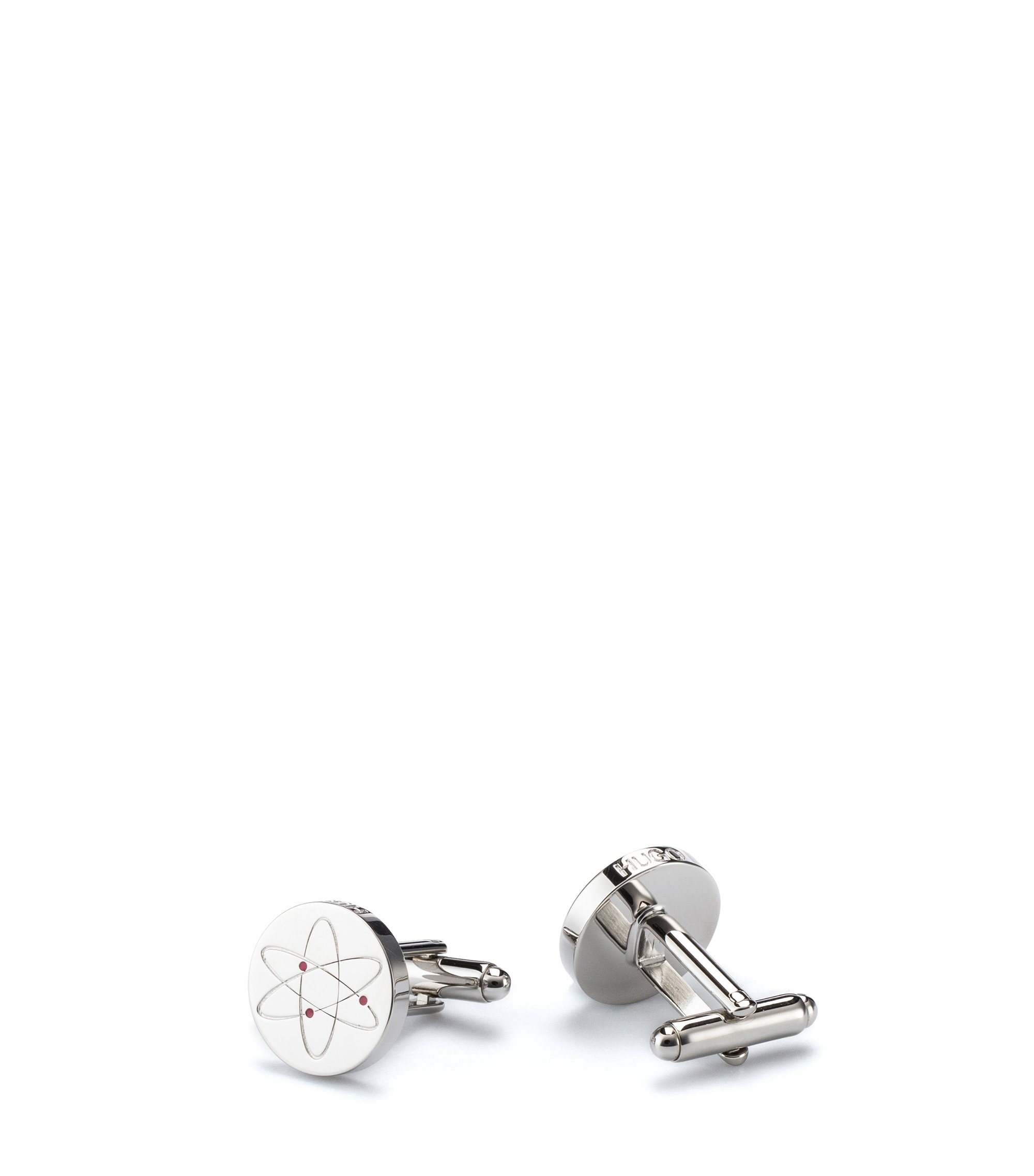 Polished-brass cufflinks with coloured enamel detail, Silver