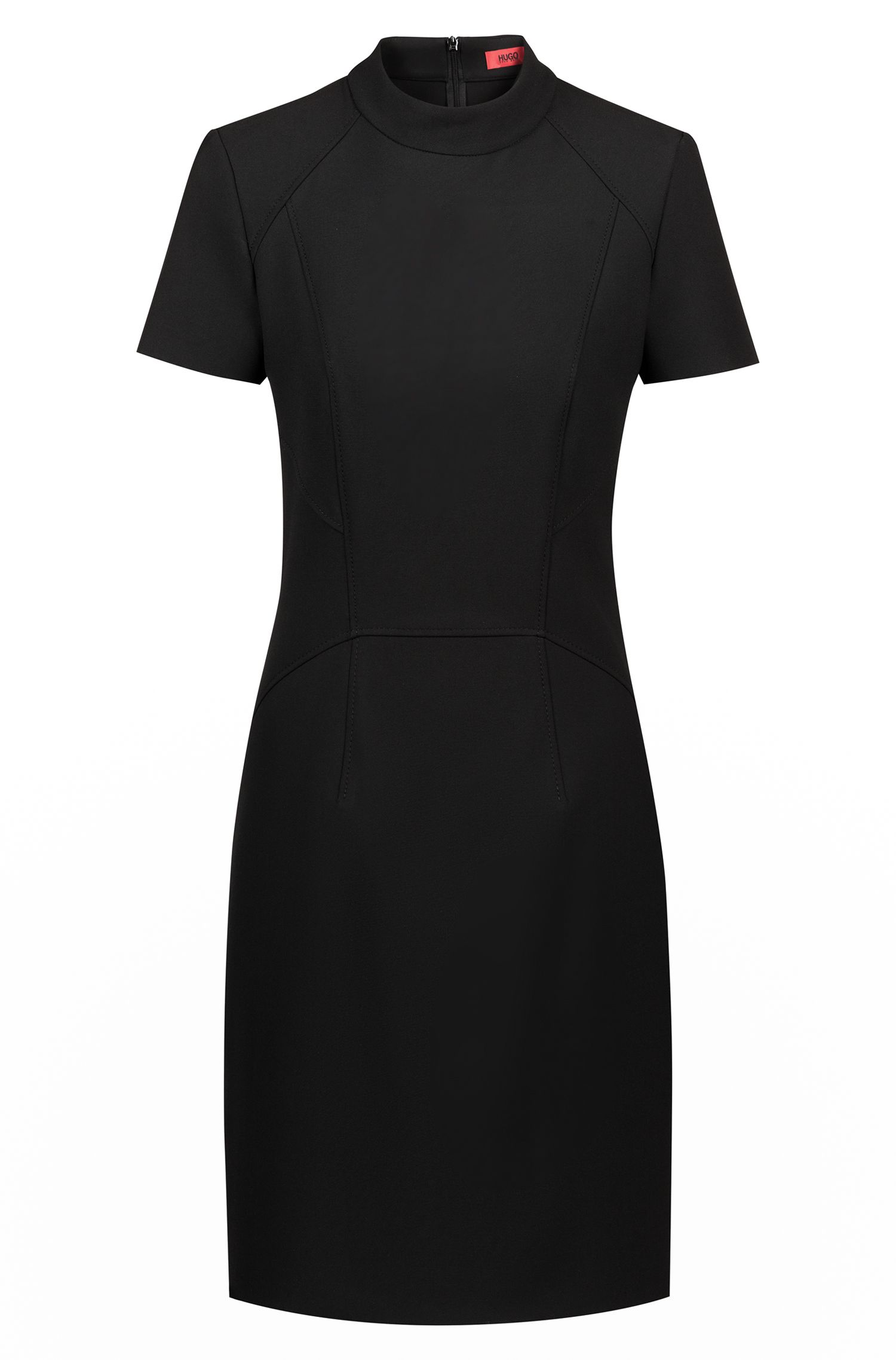 Short-sleeved dress in stretch fabric with stand collar, Black
