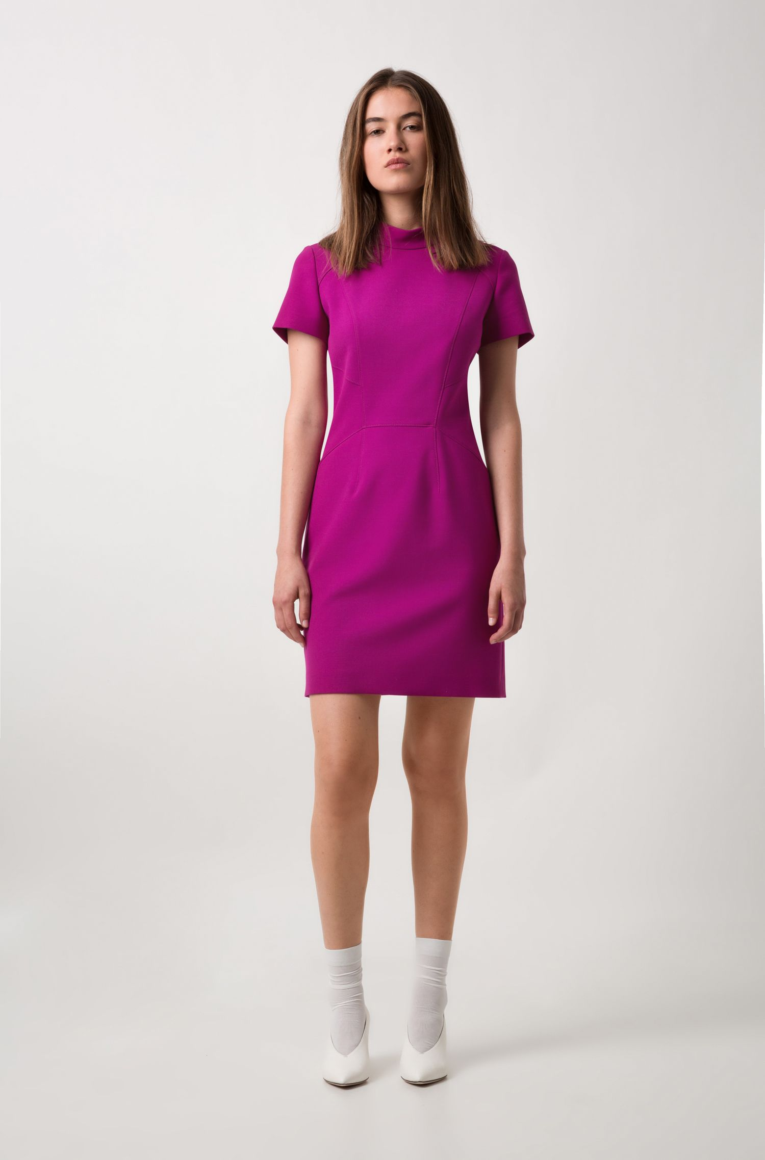 Short-sleeved dress in stretch fabric with stand collar, Purple