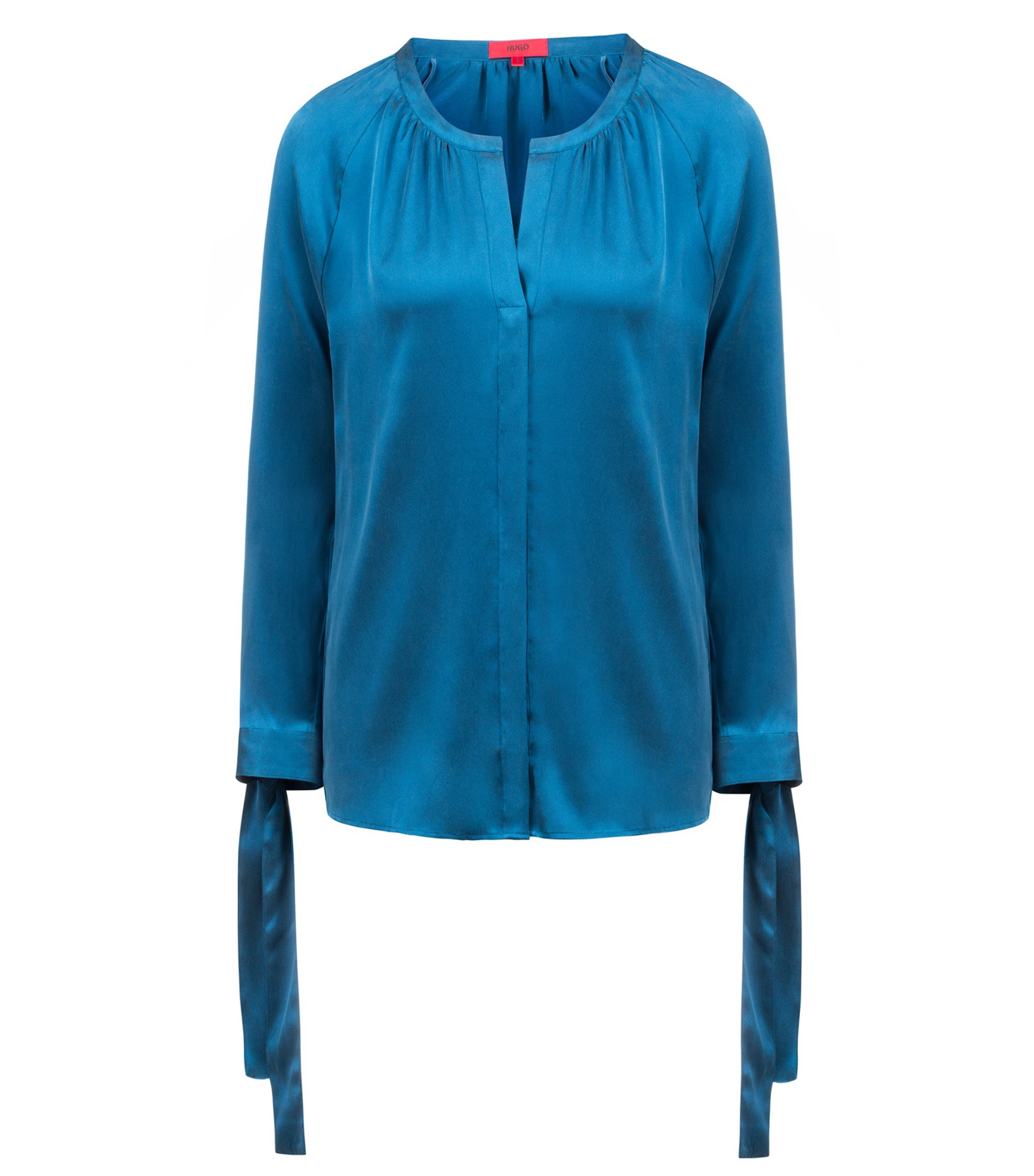 Relaxed-fit blouse in stretch silk with bow sleeves, Blue