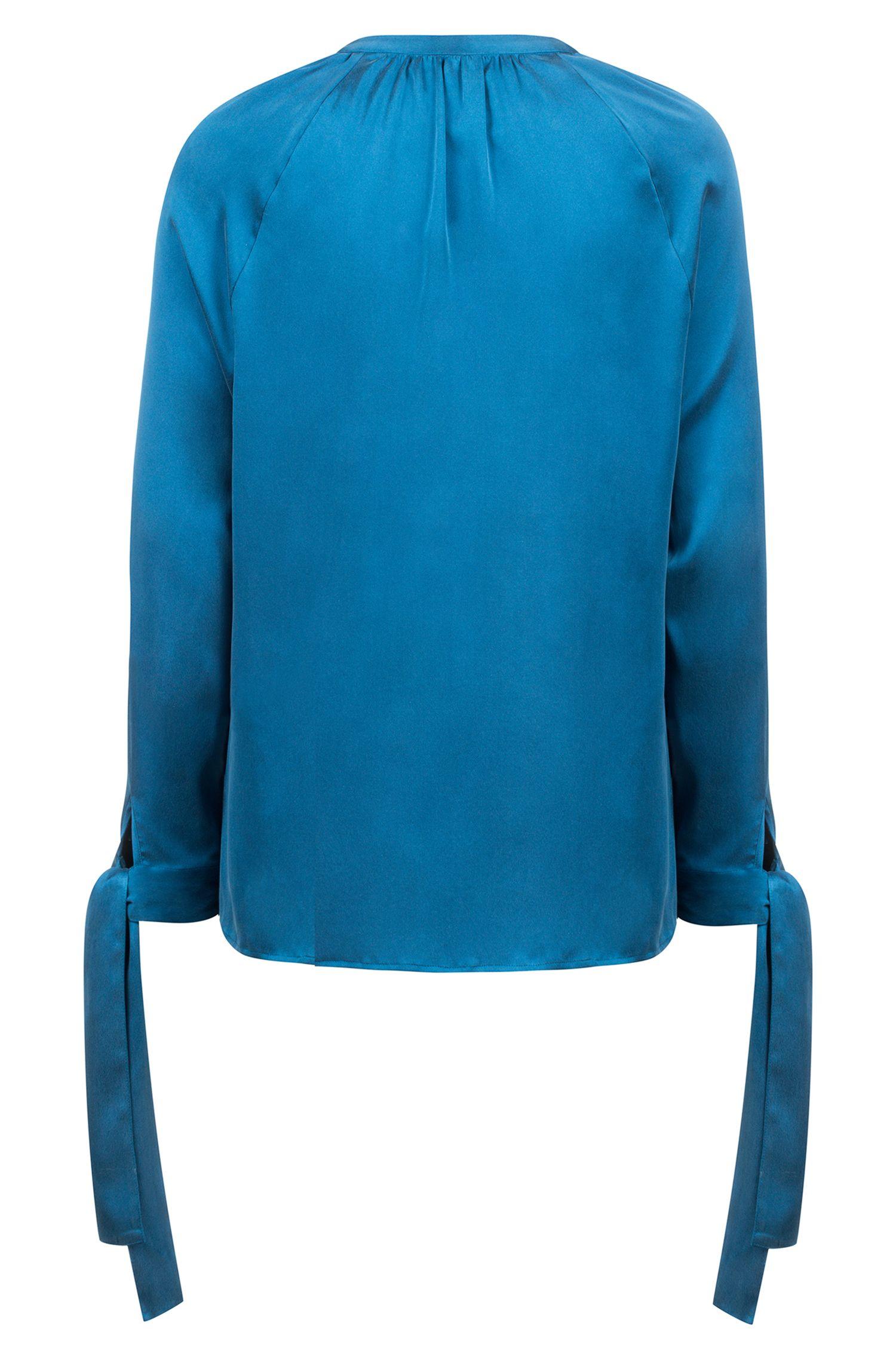 Relaxed-fit blouse van stretchzijde met strikmouwen, Blauw
