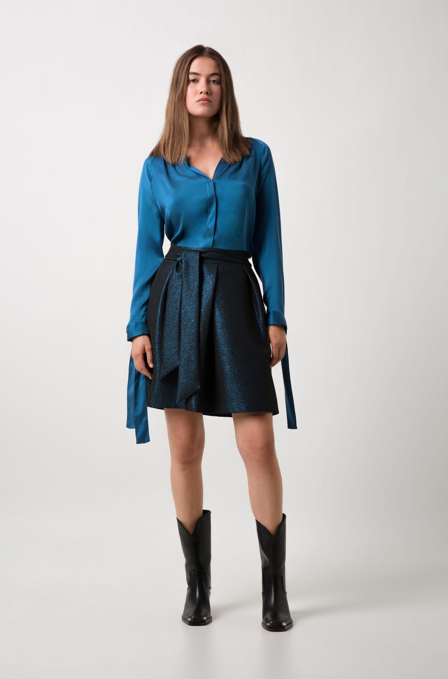Relaxed-Fit Bluse aus Stretch-Seide mit Bändern an den Ärmeln, Blau