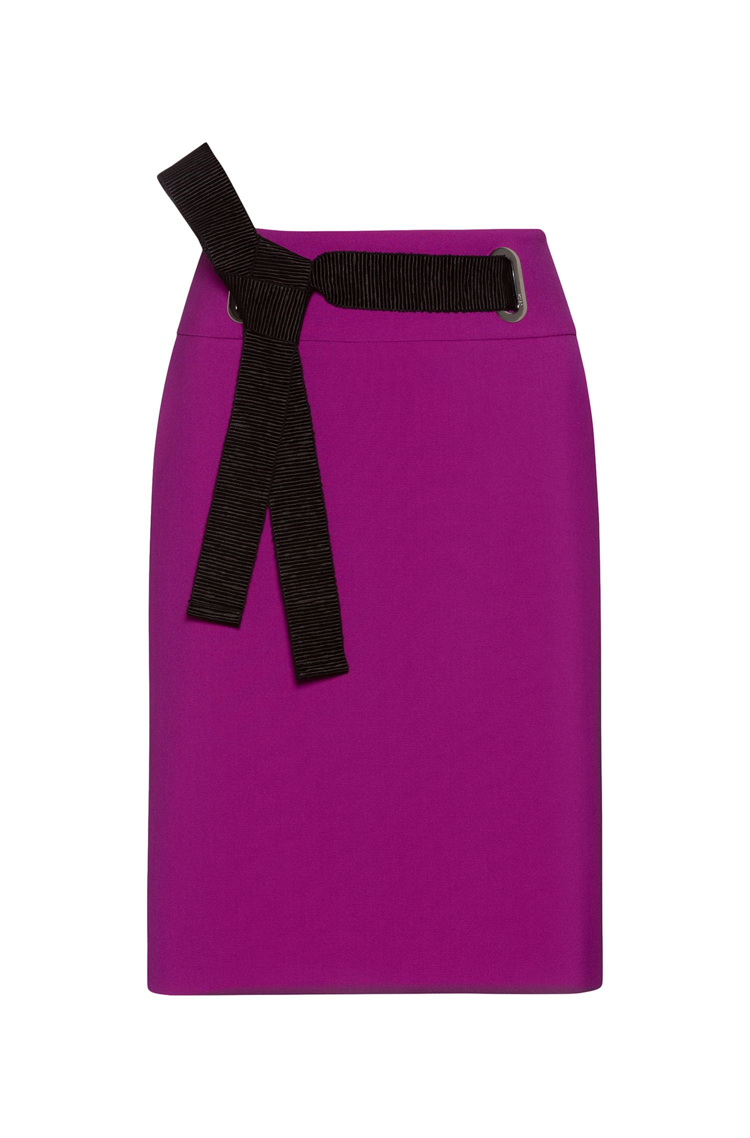 High-waisted pencil skirt with textured ribbon belt, Purple