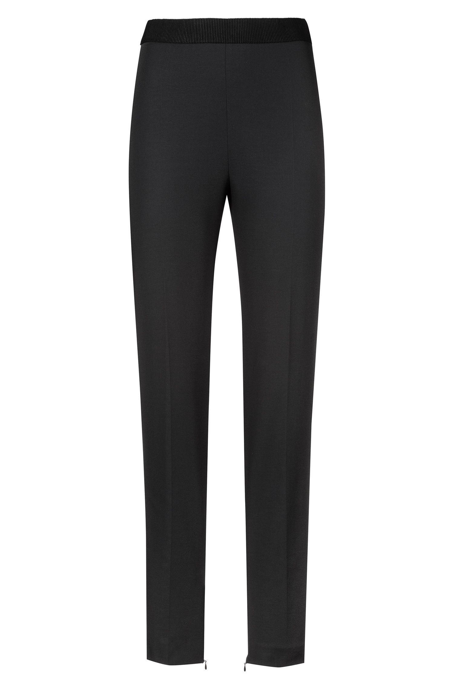 Slim-fit piqué trousers with ribbon waistband, Black