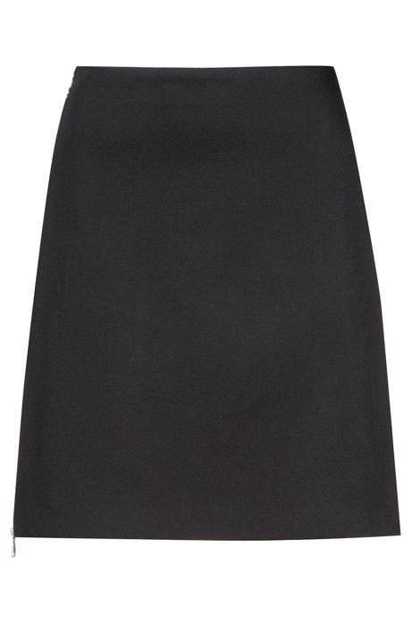 Minirock aus Stretch-Baumwolle mit seitlichem Zwei-Wege-Reißverschluss, Schwarz