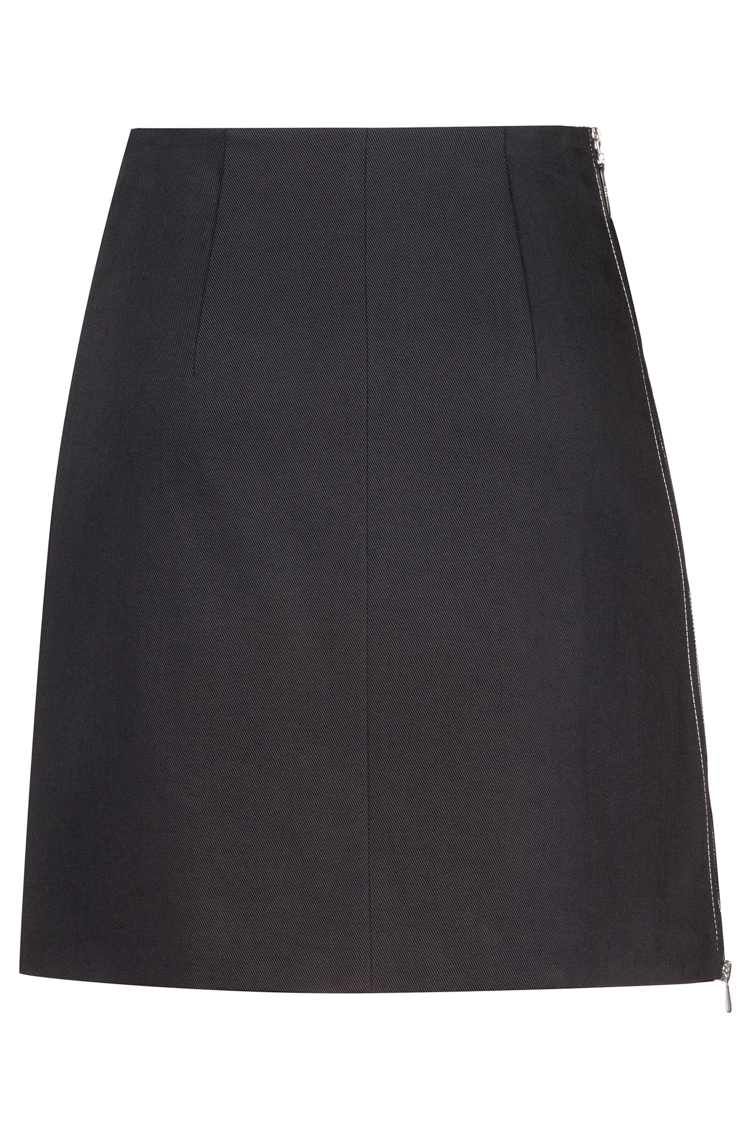Miniskirt in stretch cotton with two-way side zip, Black