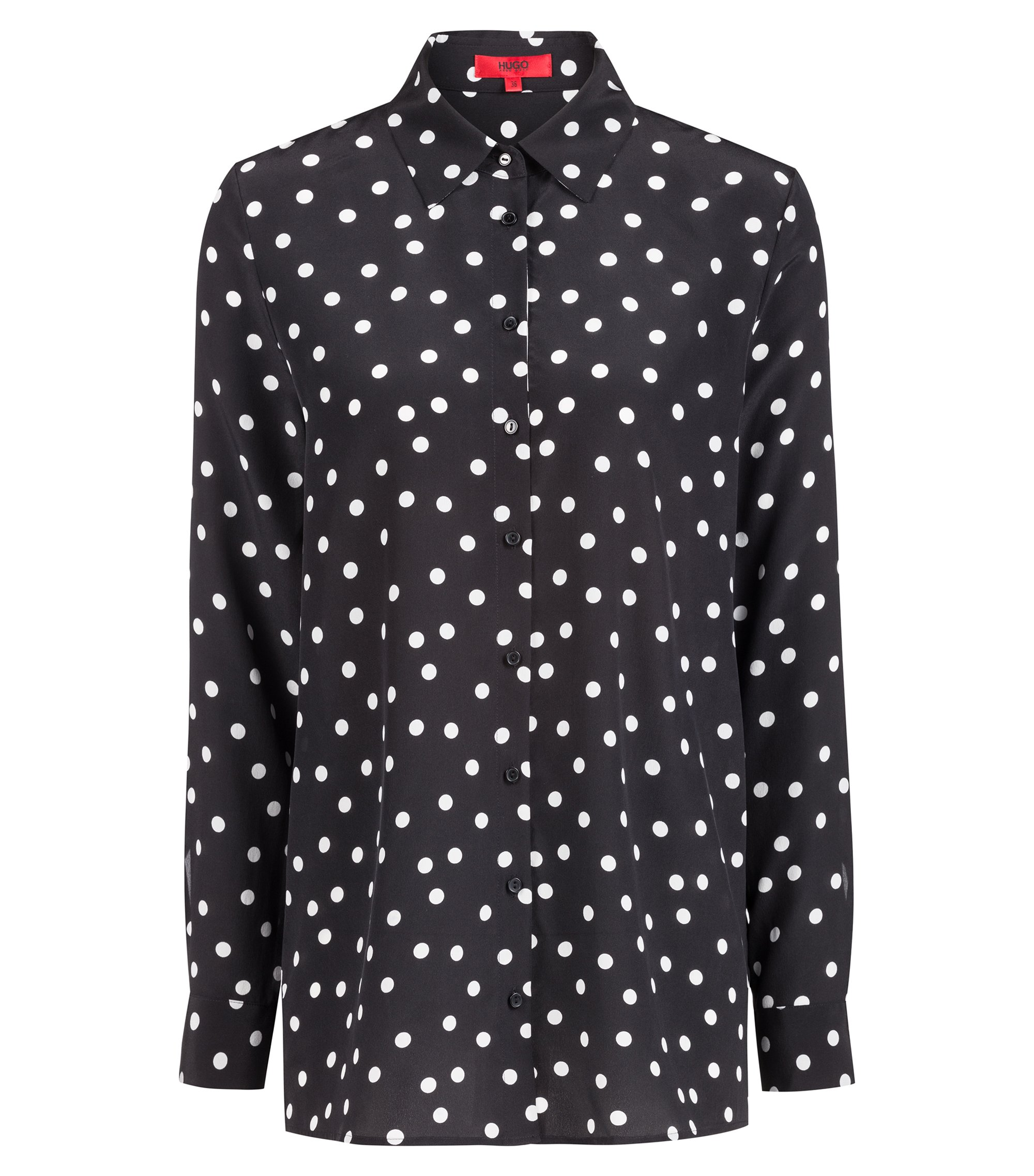 Regular-fit blouse in polka-dot silk, Patterned