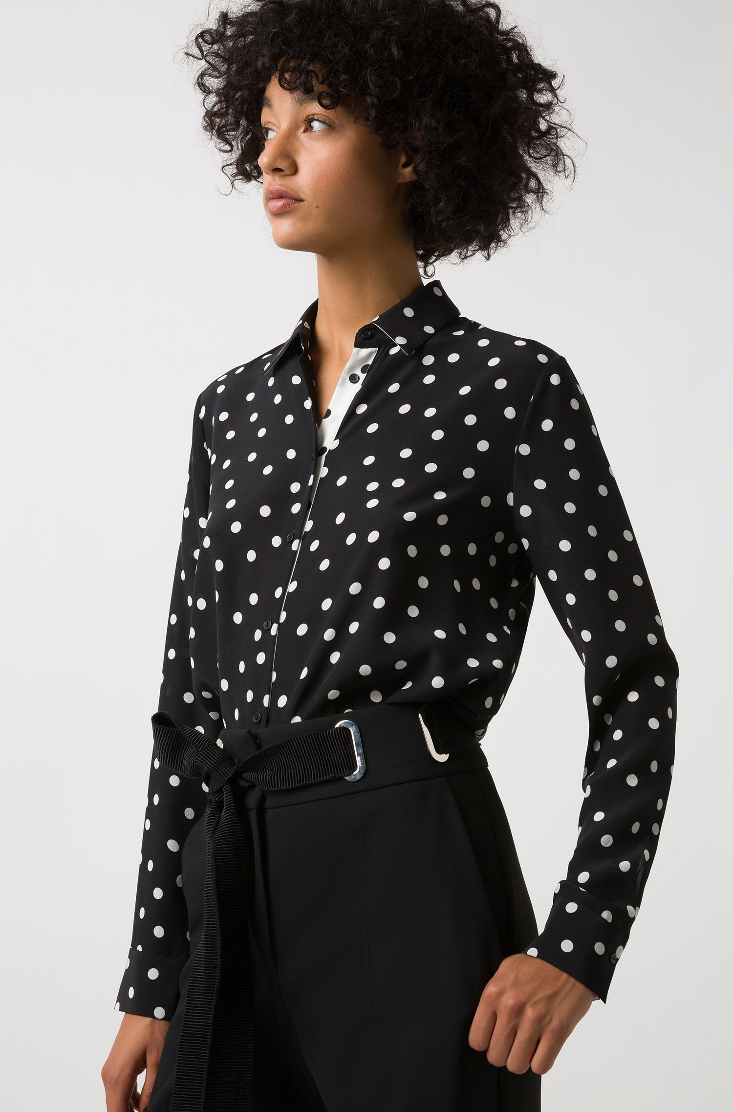 Regular-fit blouse in polka-dot silk, Patterned