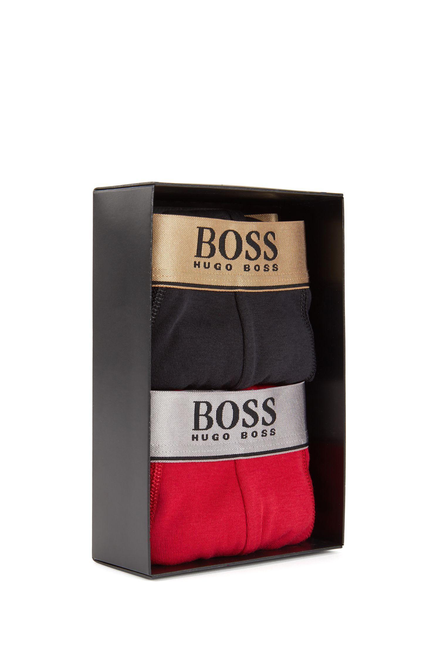 Cadeauset met boxershorts van katoen met tailleband in metallic-look, Rood