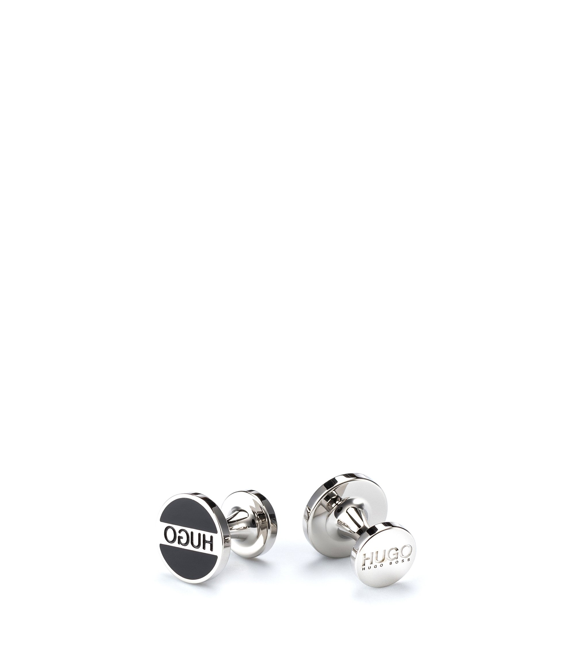 Round cufflinks in brass with logo and coloured enamel, Black