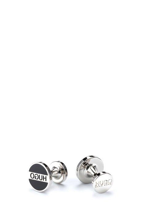 Runde Manschettenknöpfe aus Messing mit Logo und farbigem Emaille-Einsatz, Schwarz