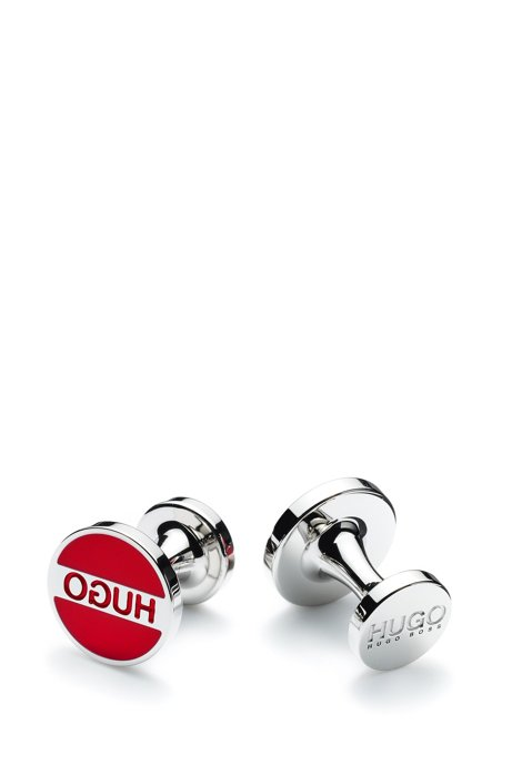 Round cufflinks in brass with logo and coloured enamel, Red
