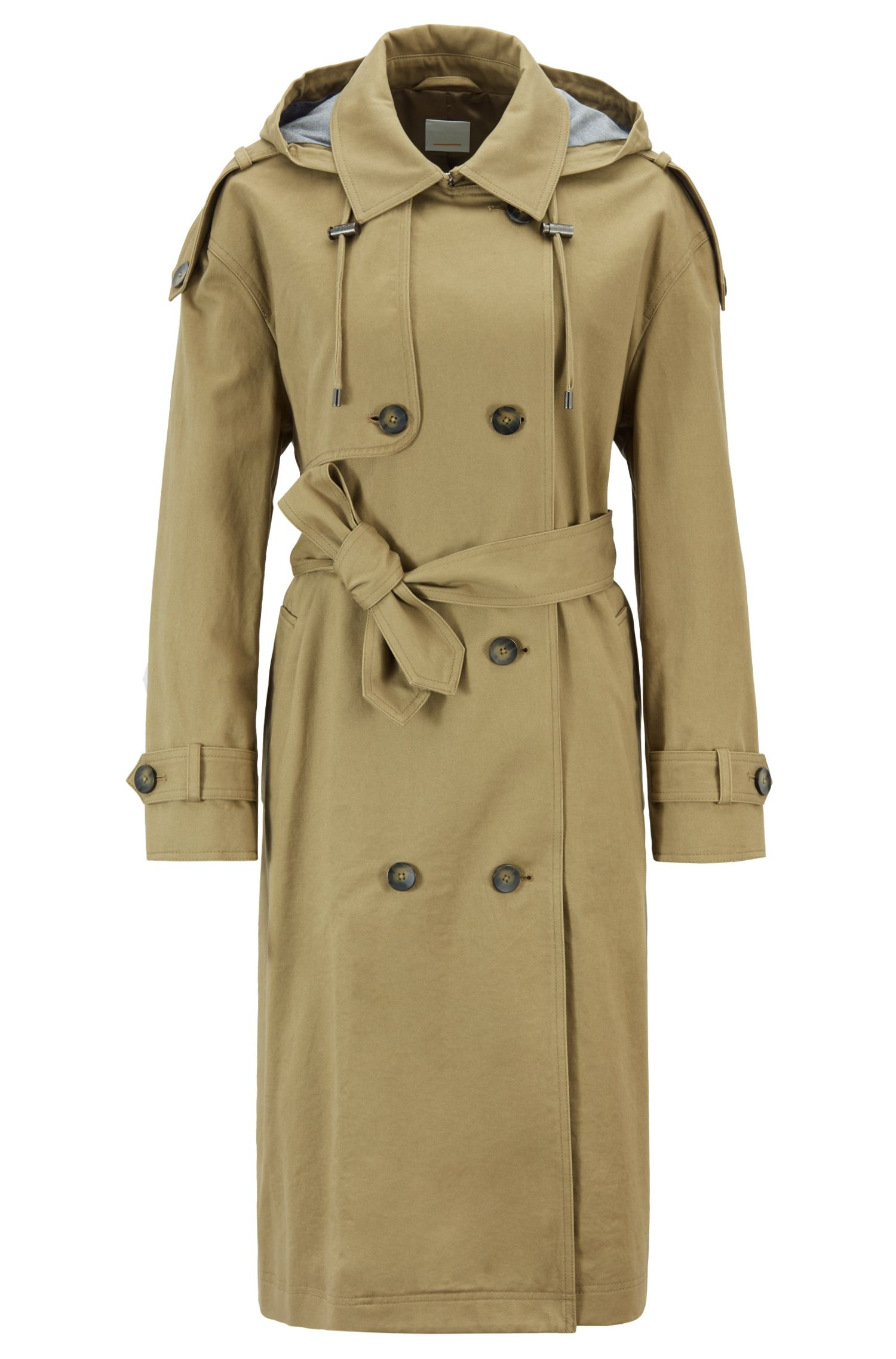 Relaxed-Fit Trenchcoat aus Baumwolle mit abnehmbarer Kapuze, Grün
