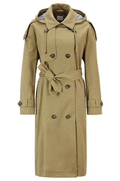 Hugo Boss - Relaxed-Fit Trenchcoat aus Baumwolle mit abnehmbarer Kapuze - 1