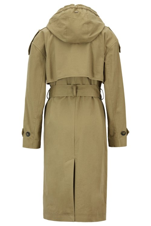 Hugo Boss - Relaxed-Fit Trenchcoat aus Baumwolle mit abnehmbarer Kapuze - 3