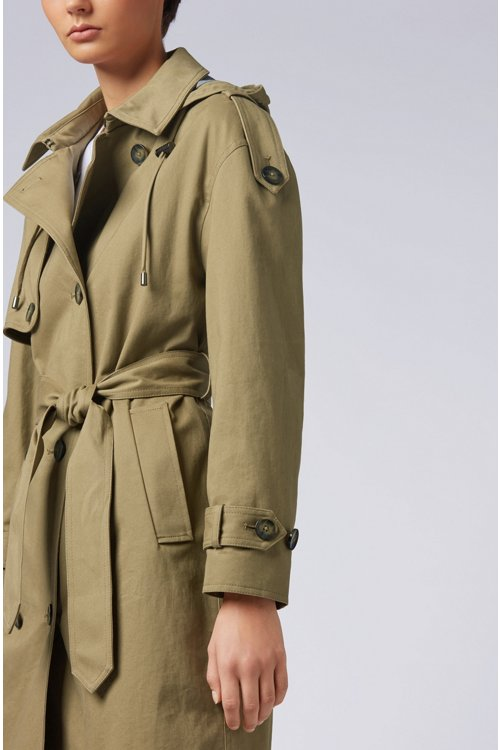 Hugo Boss - Relaxed-Fit Trenchcoat aus Baumwolle mit abnehmbarer Kapuze - 5