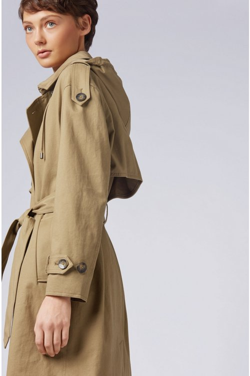 Hugo Boss - Relaxed-Fit Trenchcoat aus Baumwolle mit abnehmbarer Kapuze - 6