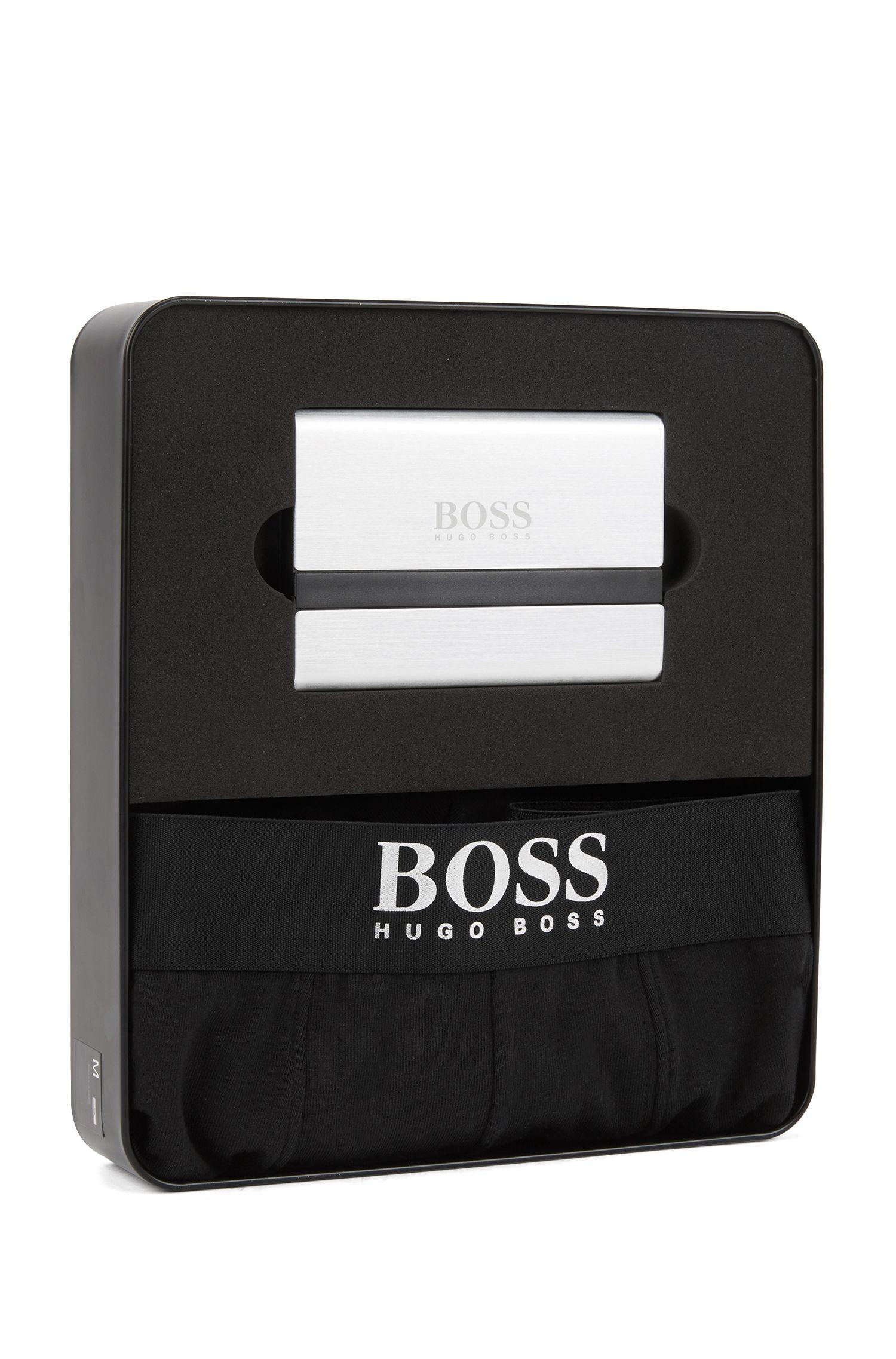 Boxer court en jersey et porte-cartes à logo, en coffret cadeau, Noir