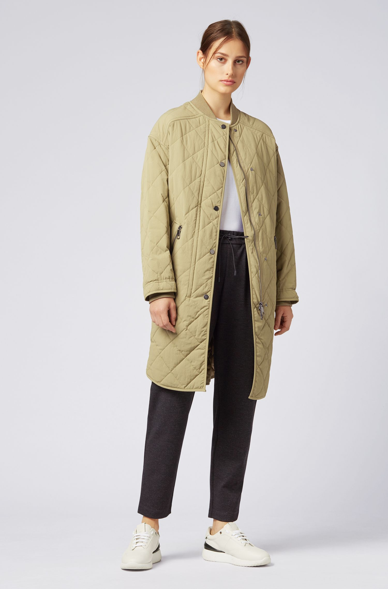 Relaxed-fit long bomber jacket in quilted technical fabric, Green