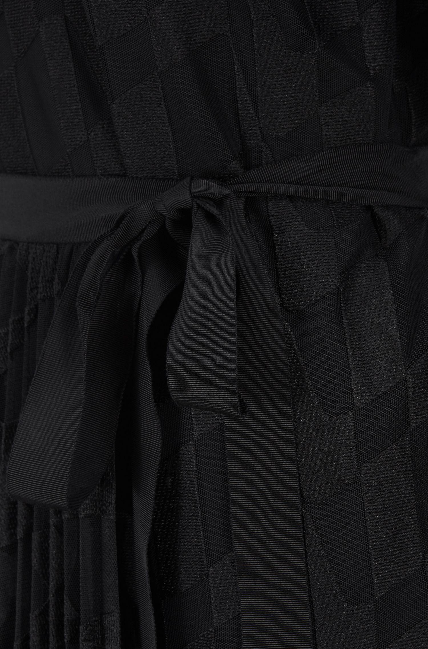 Vestido midi de manga larga en tul bordado con falda de tabla, Fantasía
