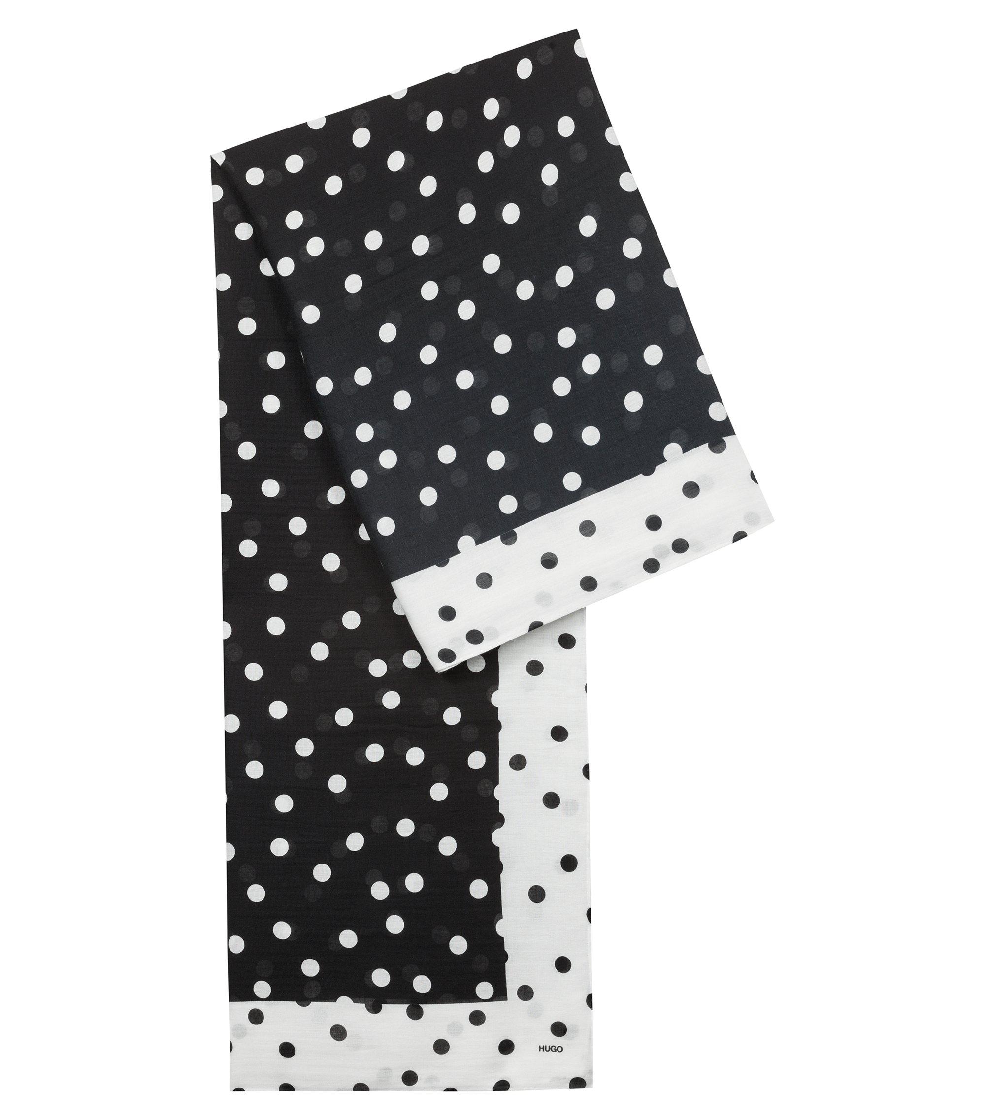 Schal aus Modal-Mix mit Baumwolle und monochromem Punkte-Print, Schwarz
