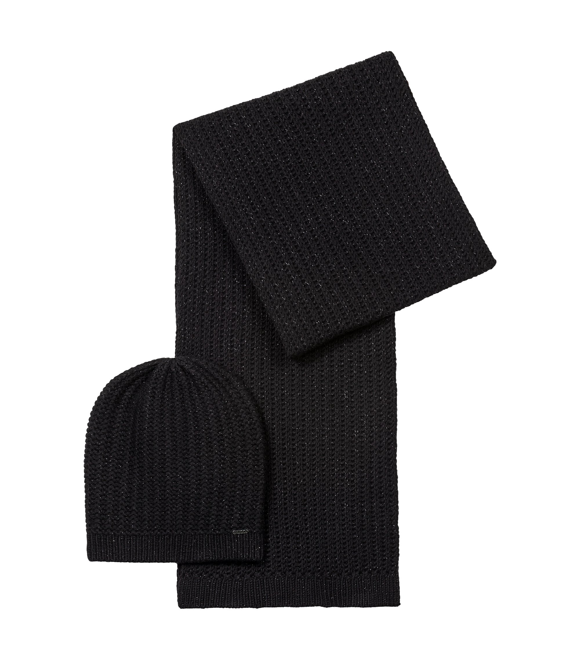 Beanie and scarf set in a metallised wool blend, Black