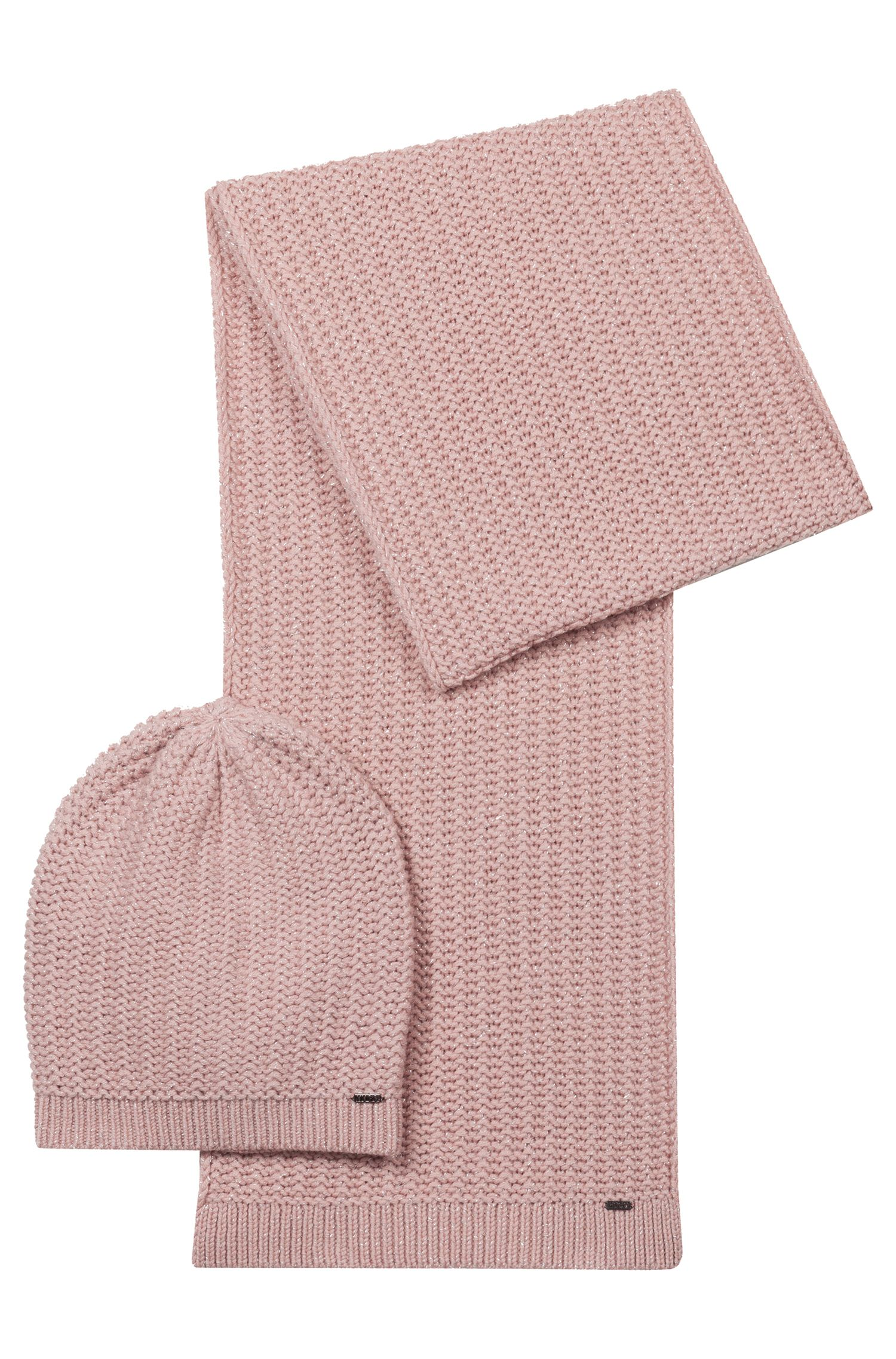 Beanie and scarf set in a metallised wool blend, Pink