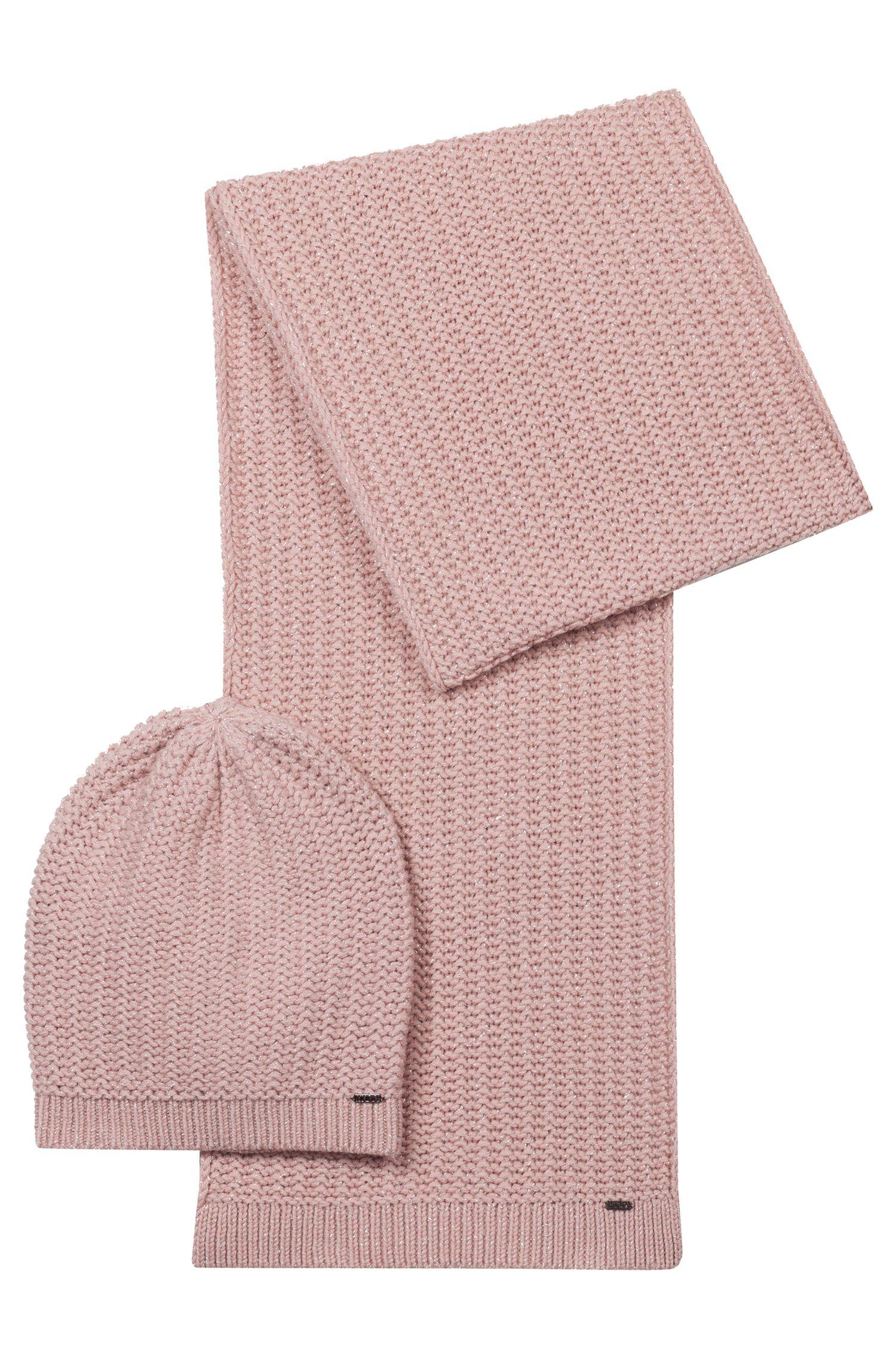 Set aus Mütze und Schal aus Metallic-Woll-Mix, Pink