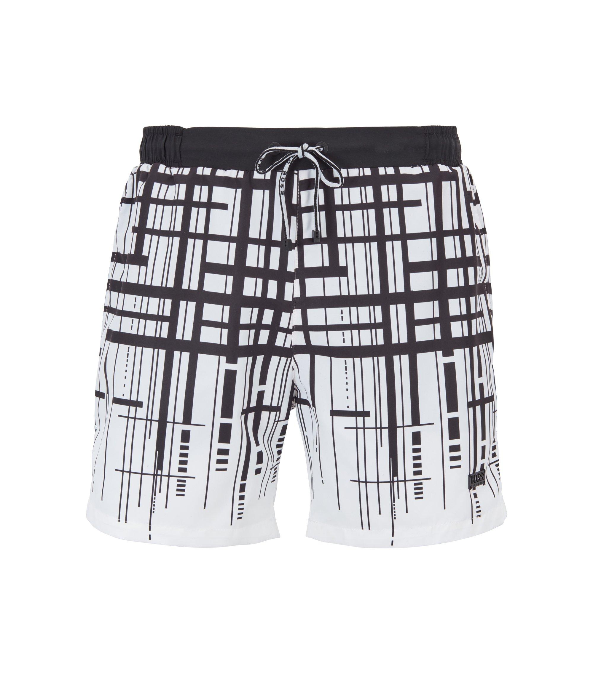 Quick-dry swim shorts with dégradé check print, White