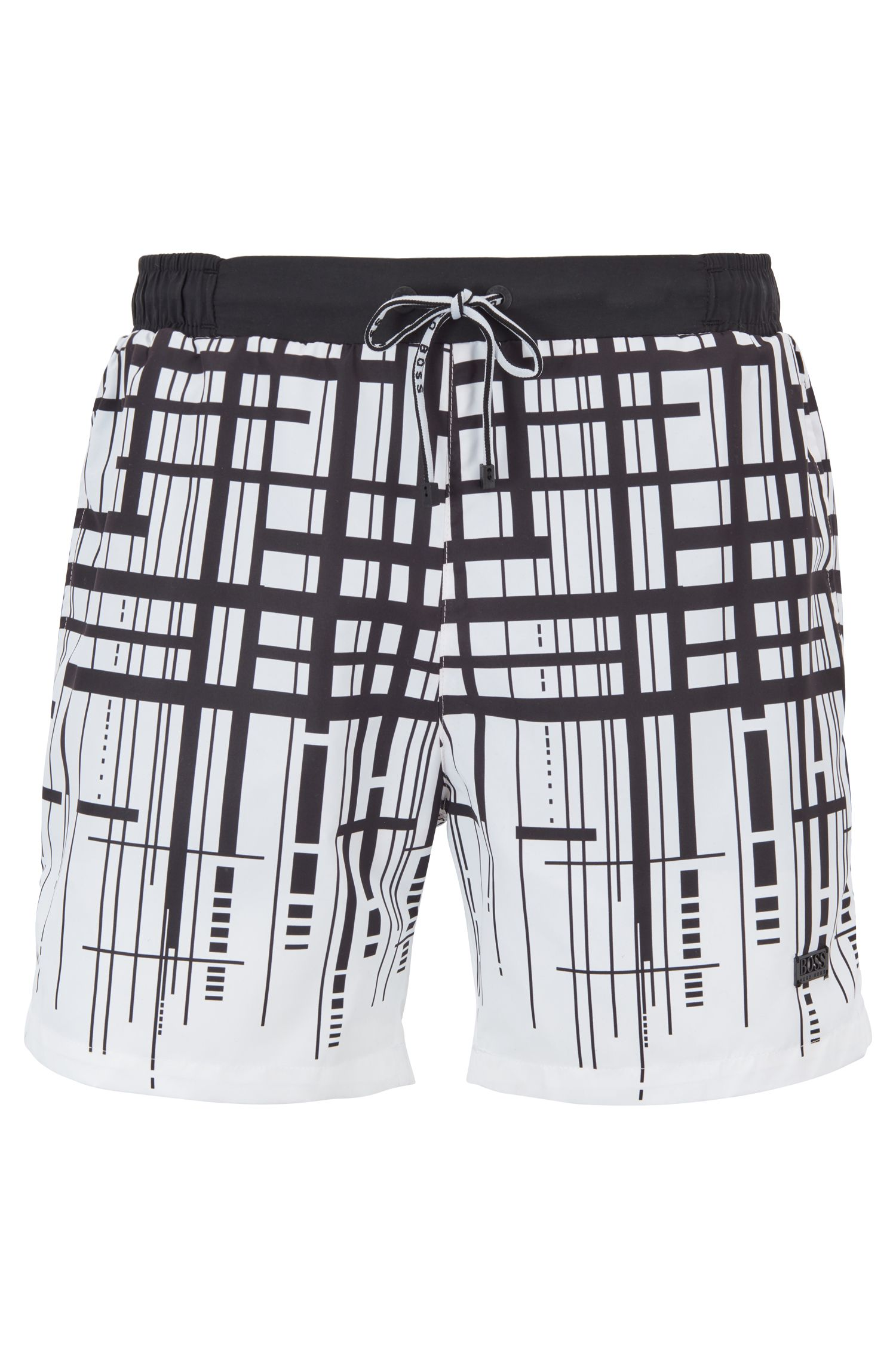 Quick-dry swim shorts with dégradé check print, White