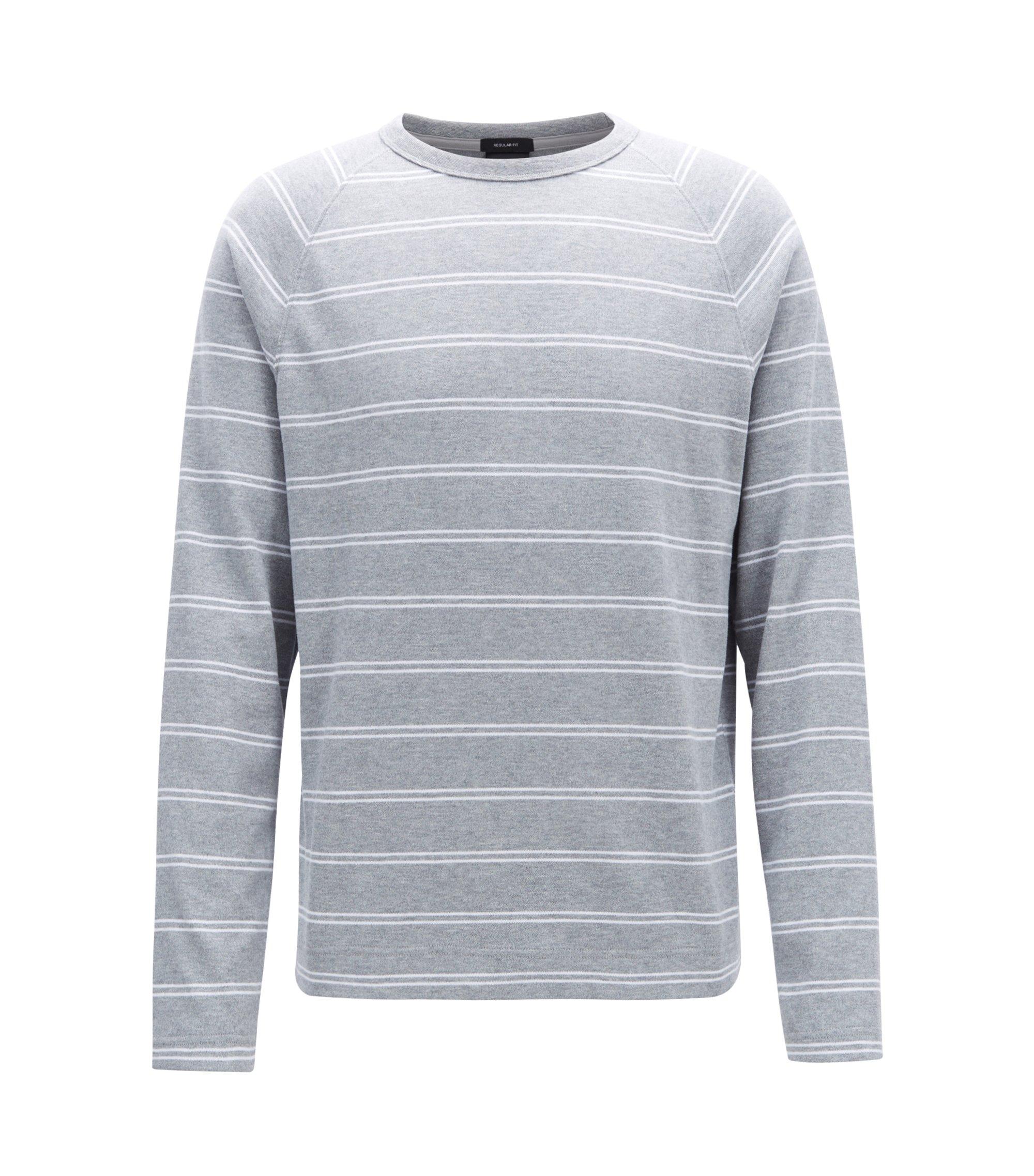 Gestreept T-shirt van geborstelde katoenen single-jersey met lange mouwen, Zilver