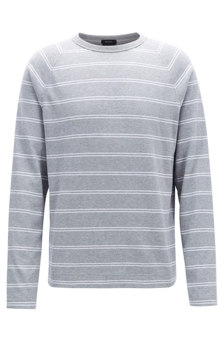 945677c44 BOSS - Striped long-sleeved T-shirt in brushed single-jersey cotton