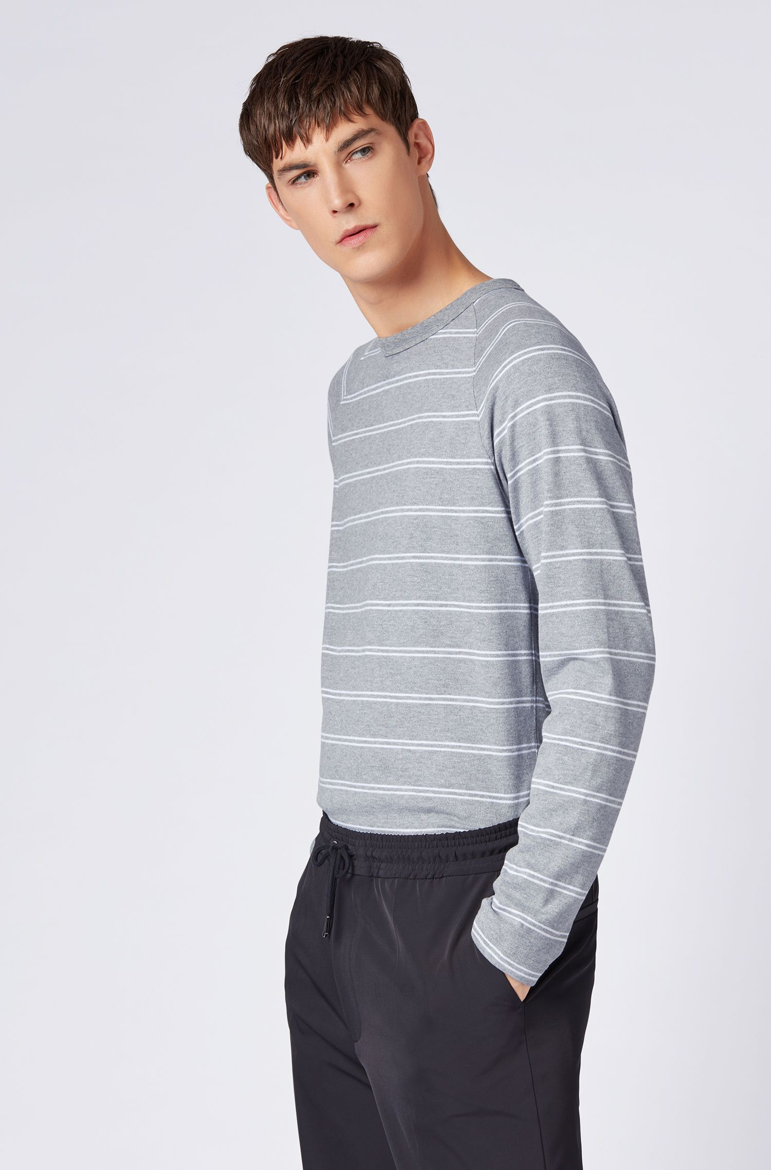 Striped long-sleeved T-shirt in brushed single-jersey cotton, Silver