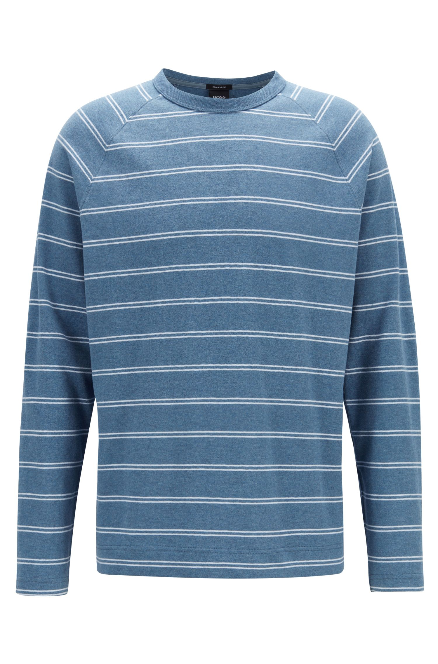 Gestreept T-shirt van geborstelde katoenen single-jersey met lange mouwen, Blauw