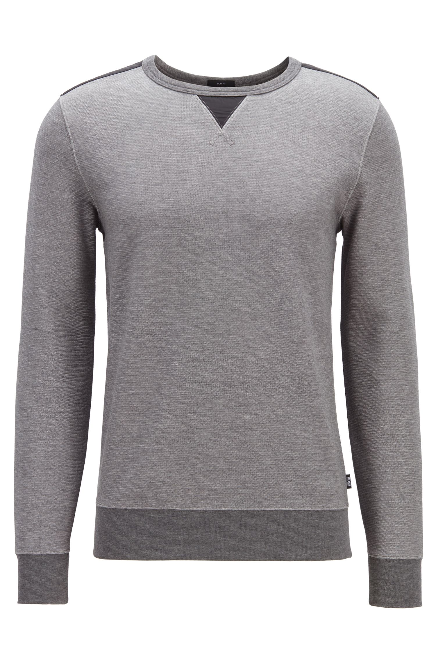 Sweat Slim Fit en coton mélangé structuré, avec empiècements contrastants, Gris