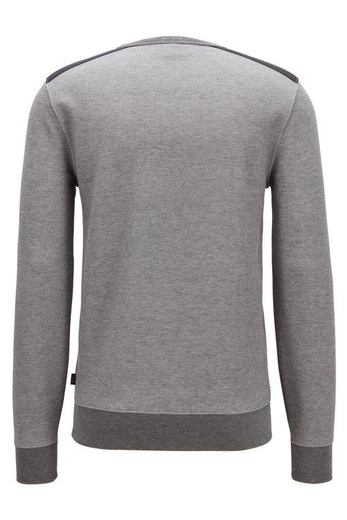Hugo Boss - Sudadera slim fit en mezcla de algodón con estructura y apliques en contraste - 4