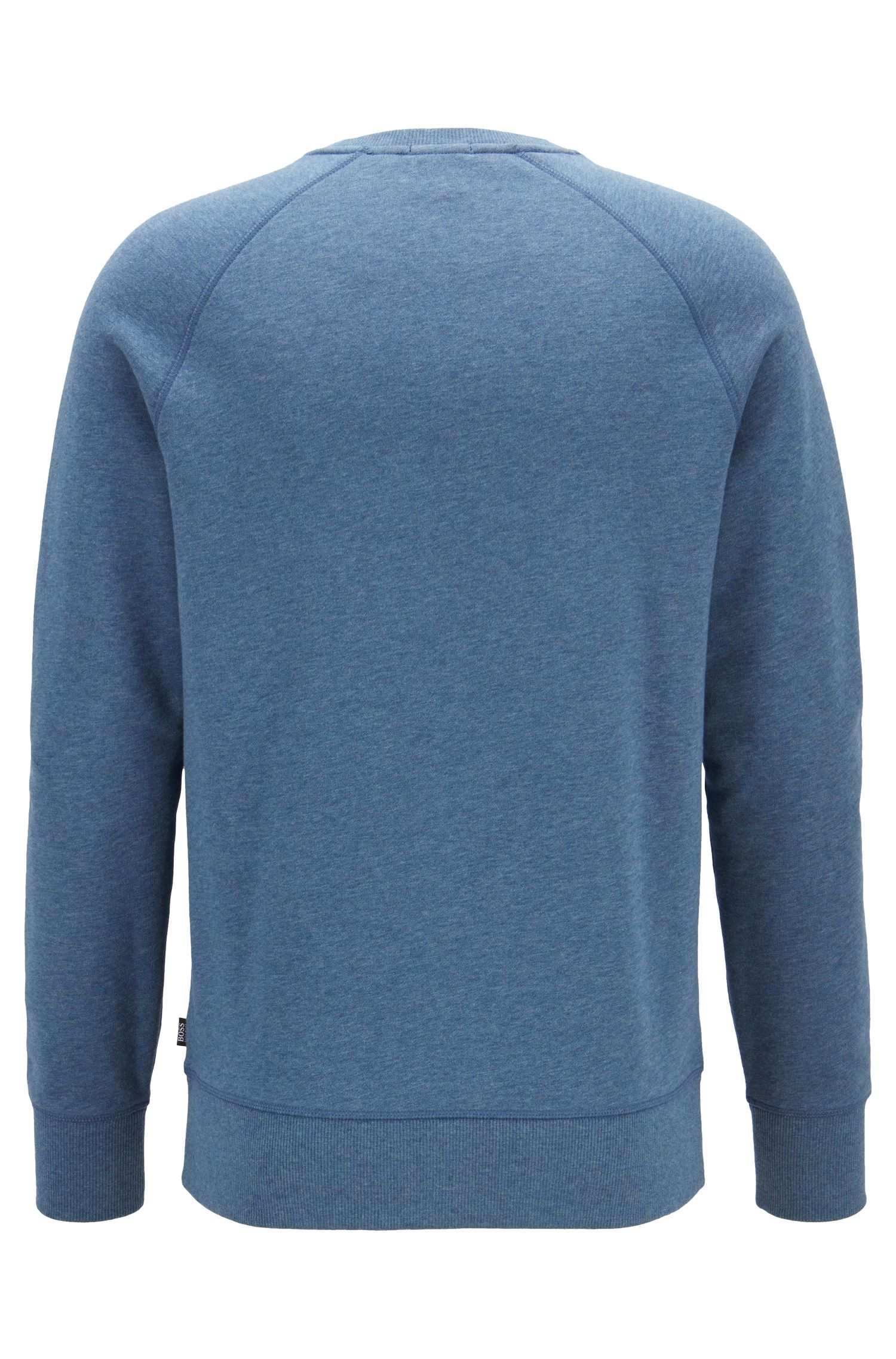Slim-fit sweatshirt in French terry with stitch detailing, Open Blue