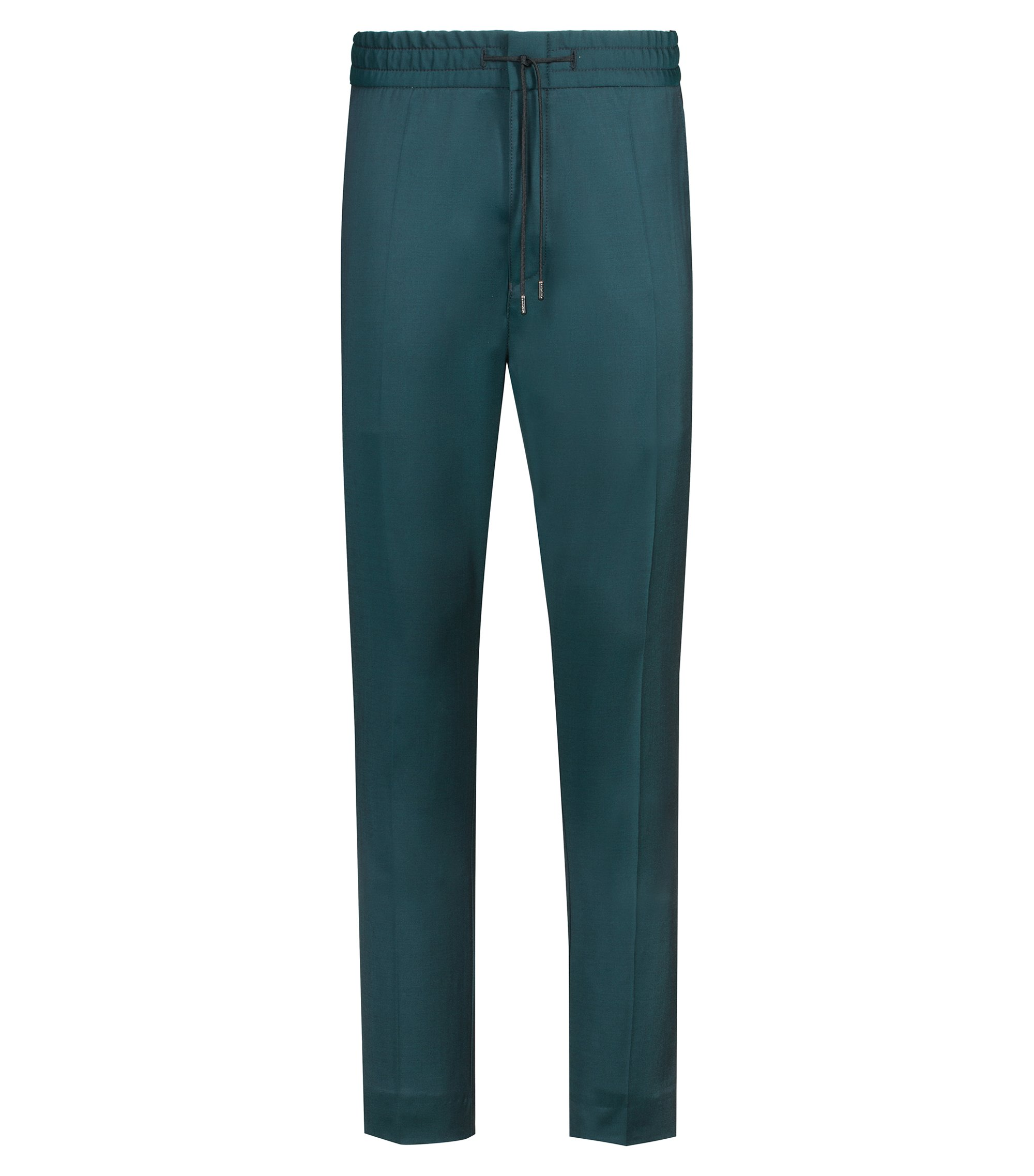 Pantalon Tapered Fit en laine vierge naturellement stretch, Vert sombre