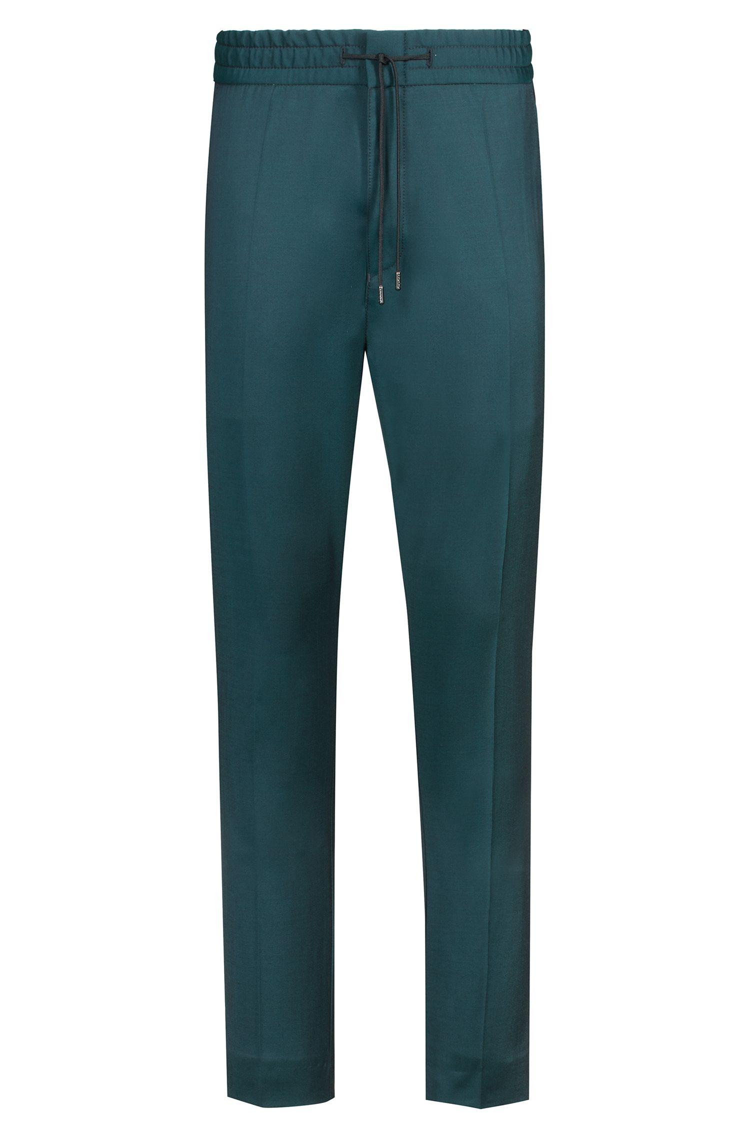 Tapered-Fit Hose aus natürlich elastischer Schurwolle, Dunkelgrün