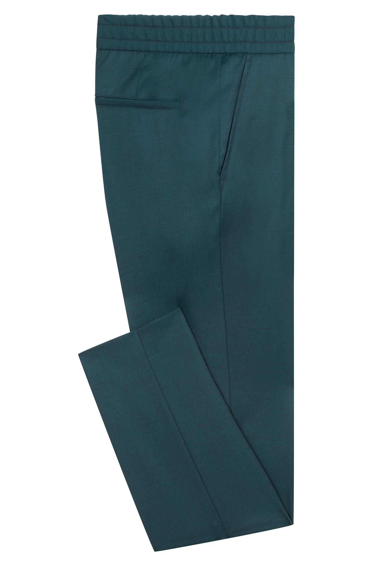 Pantalon Tapered Fit en laine vierge naturellement stretch, Vert sombre
