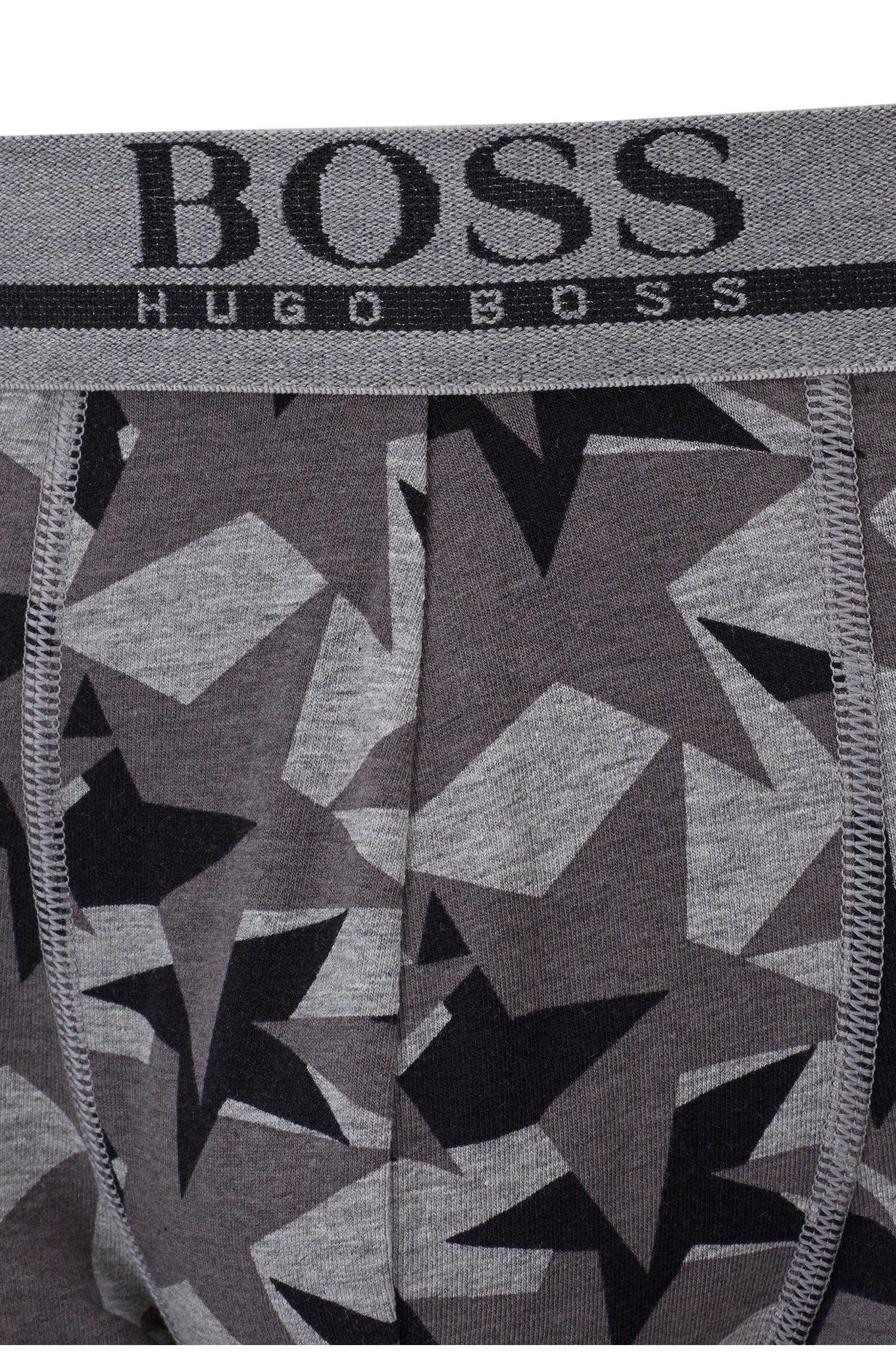 Star-print trunks in stretch-cotton jersey, Grey