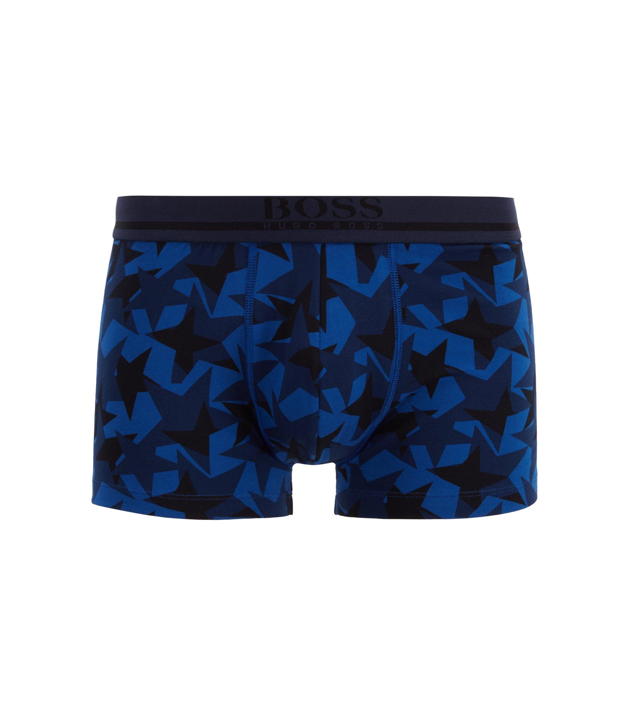 Boxershort van stretchkatoenjersey met sterrenprint, Donkerblauw