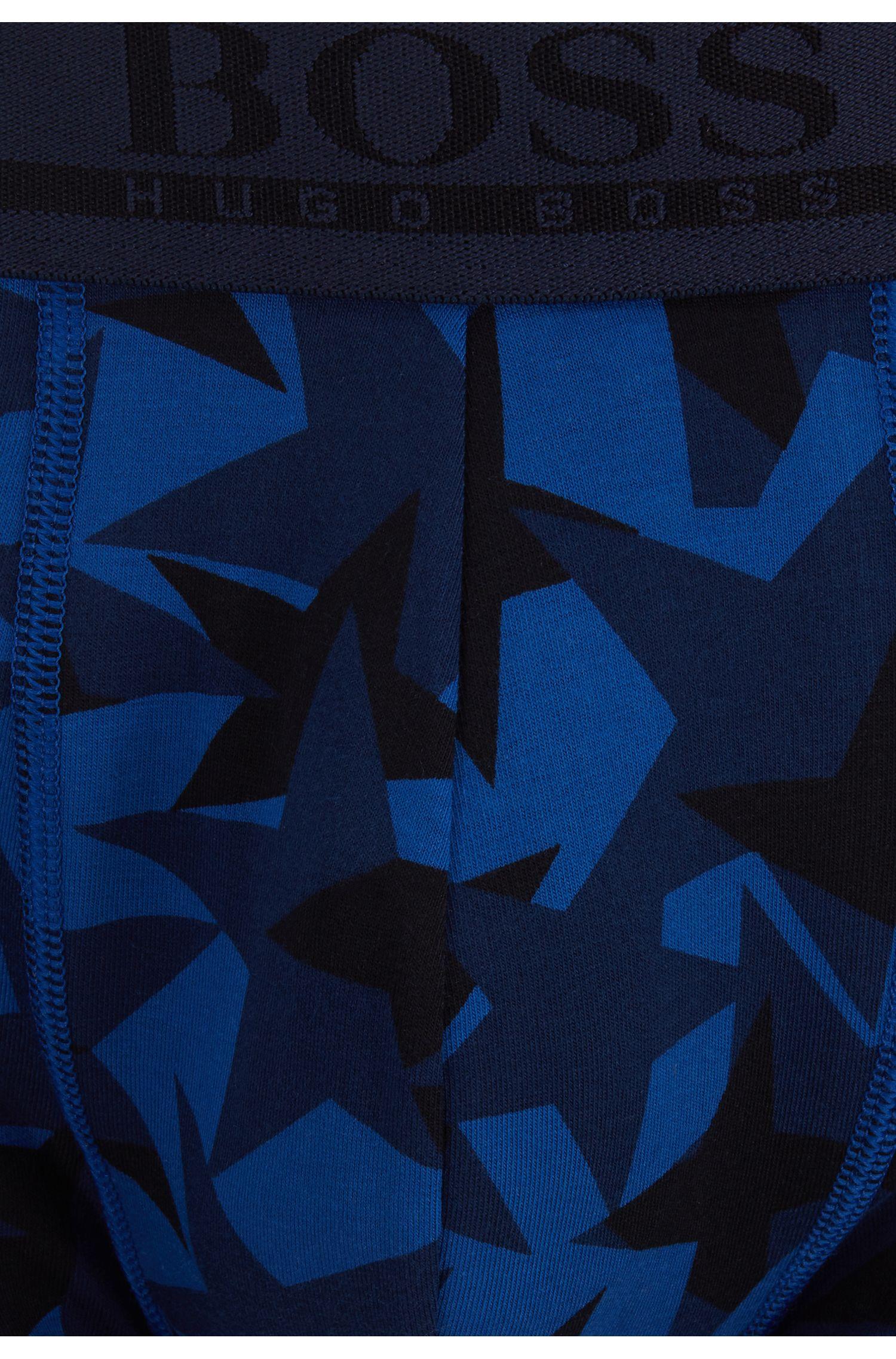 Calzoncillos en punto de algodón elástico con estampado de estrellas, Azul oscuro