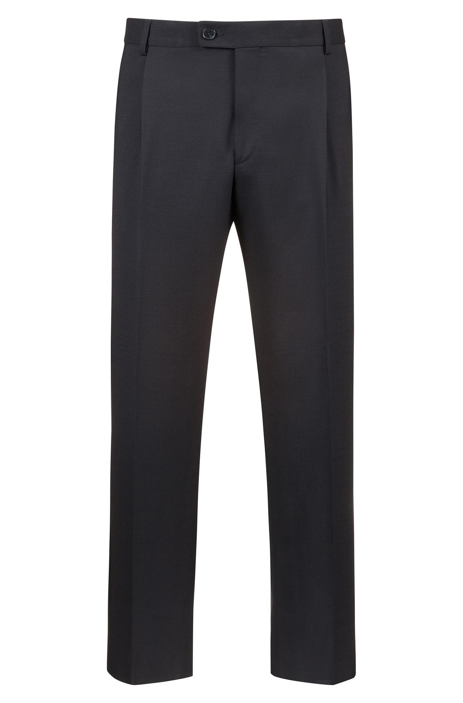 Extra Slim-Fit Hose aus Schurwolle in Cropped-Länge mit Seidenstreifen, Schwarz