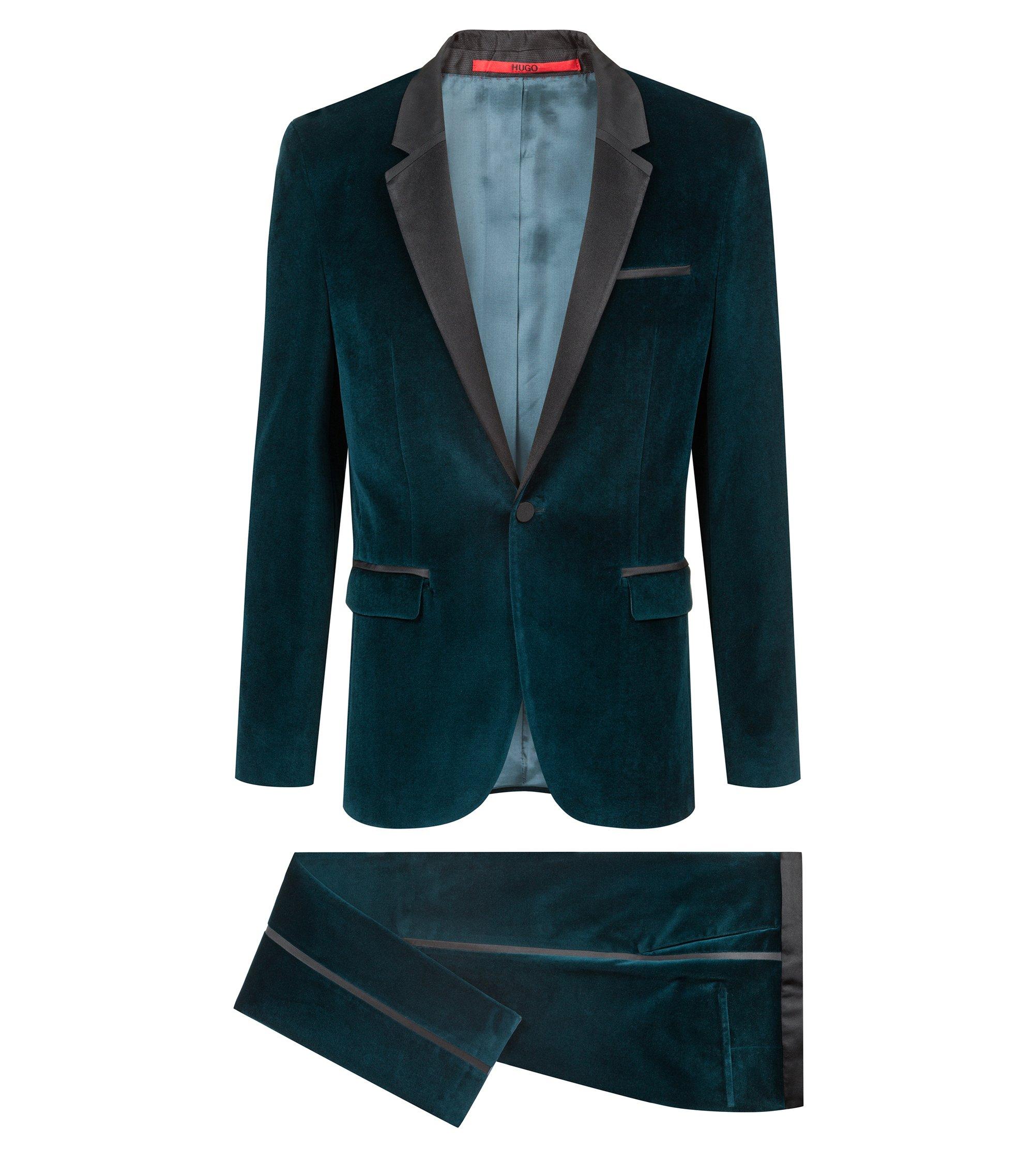 Extra slim-fit fluwelen kostuum met accenten van zijde, Donkergroen