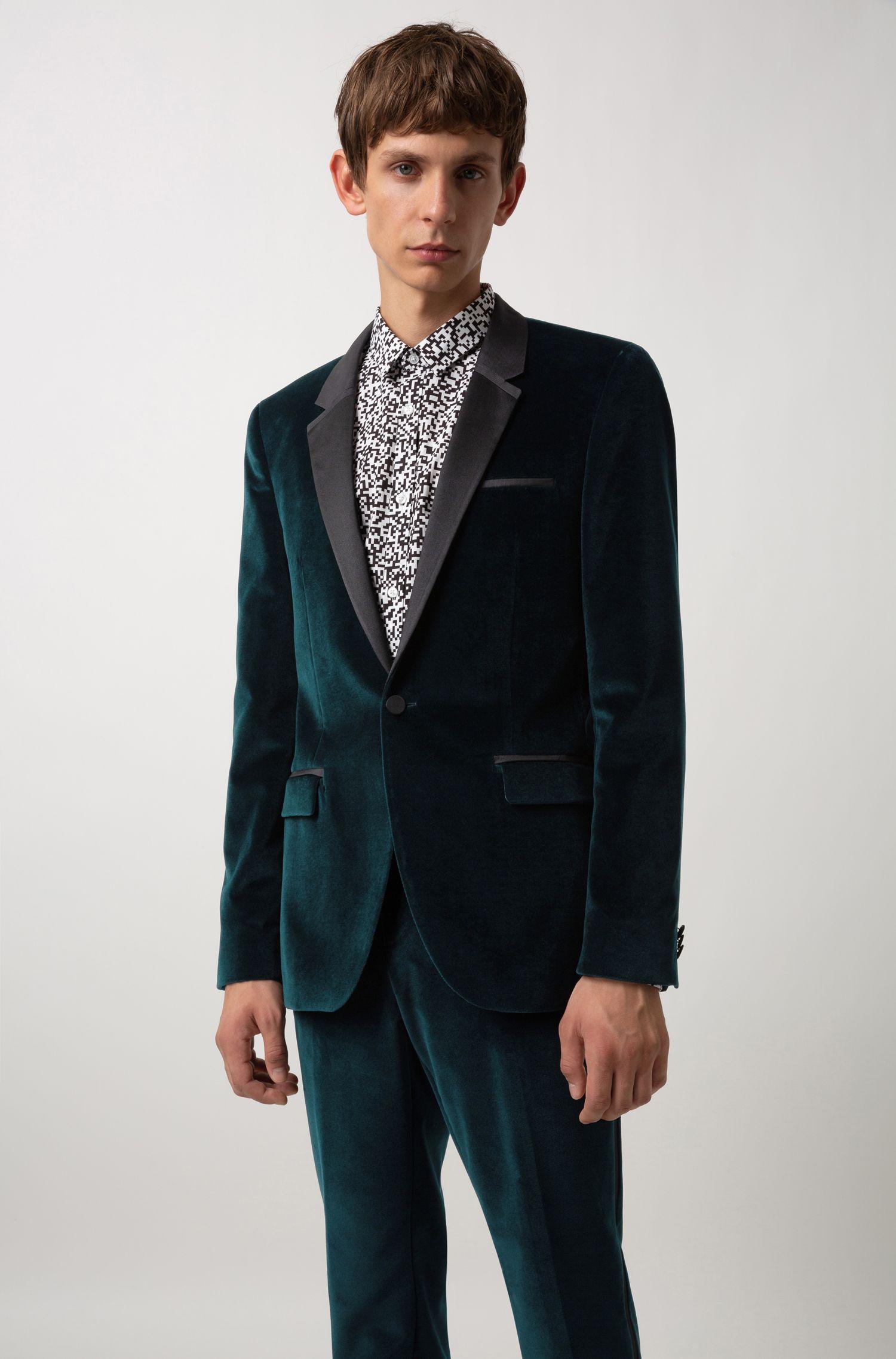 Costume Extra Slim Fit en velours orné de soie, Vert sombre
