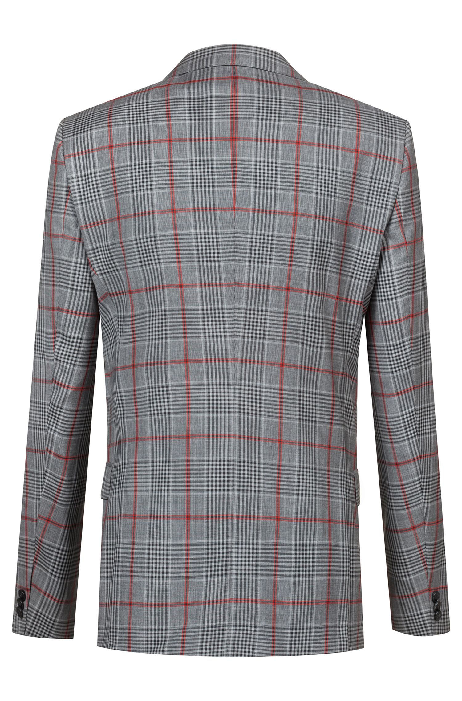 Blazer extra slim fit in lana vergine con motivo a quadri, A disegni